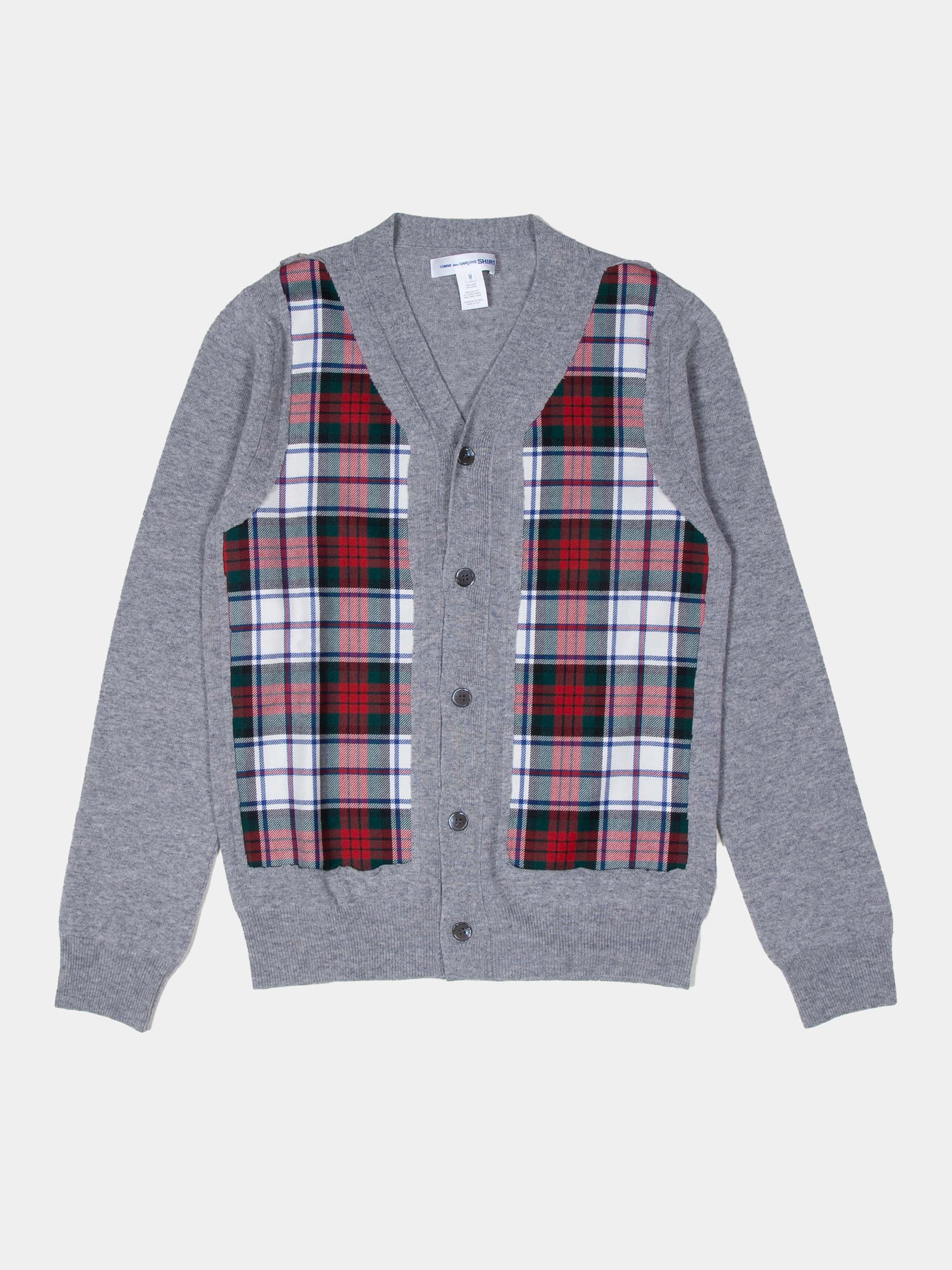 Grey Grey Plaid Panel Cardigan 1