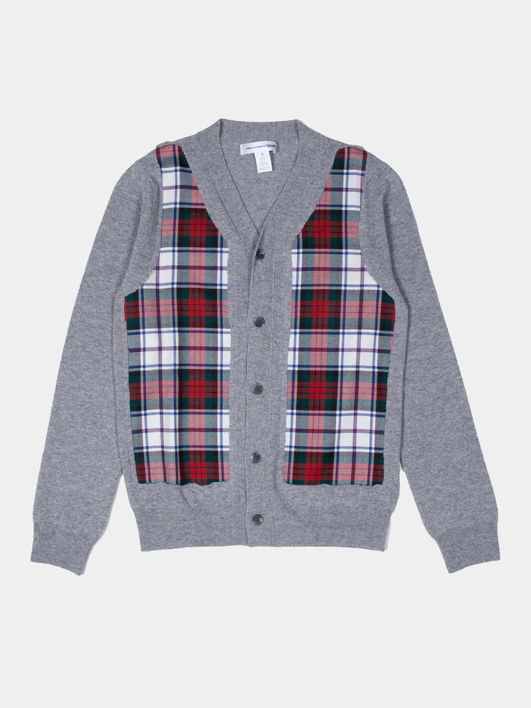Grey Plaid Panel Cardigan