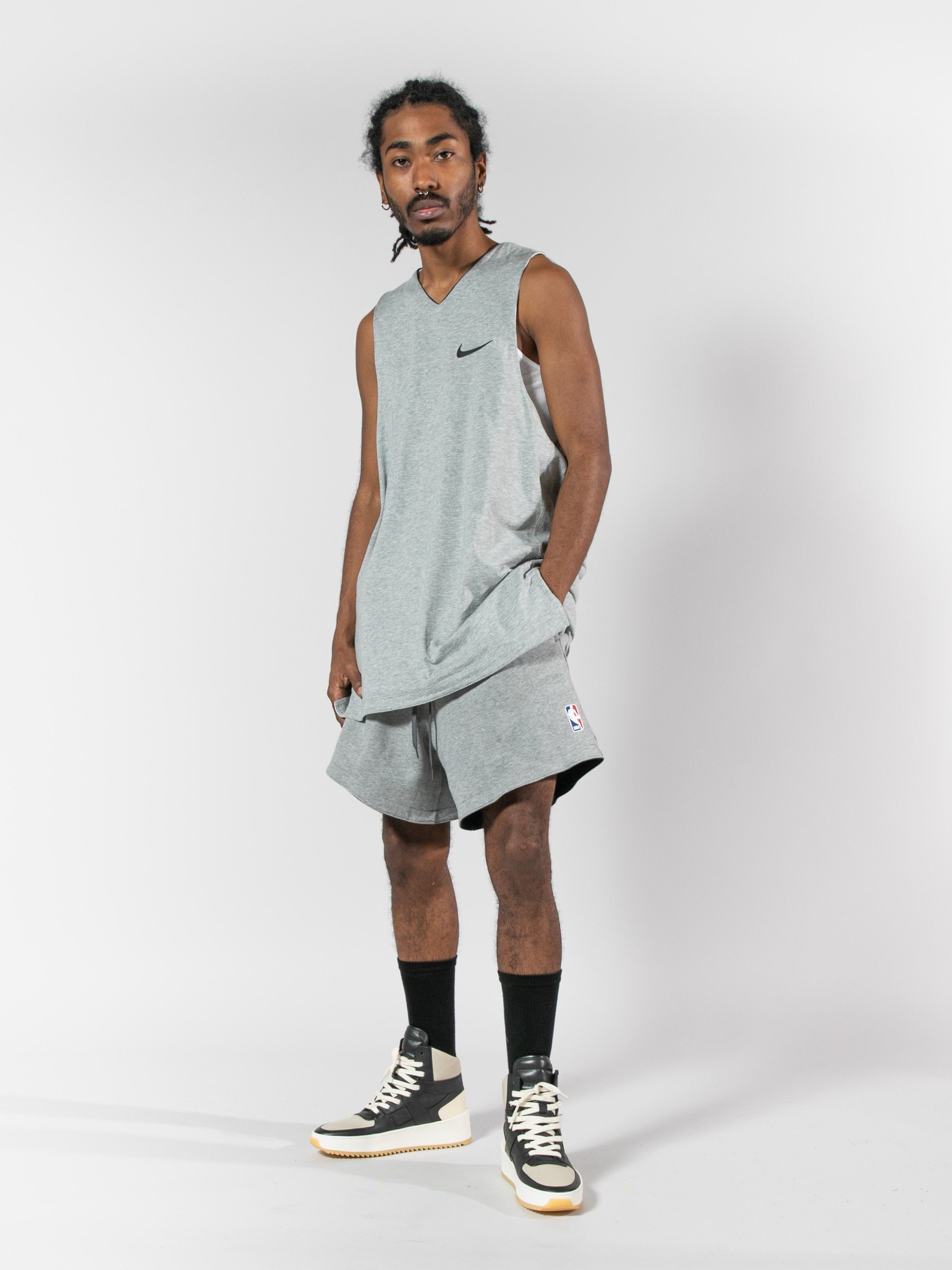 Summit White/Heather Grey/Black Nike x Fear Of God Reversible Short 3
