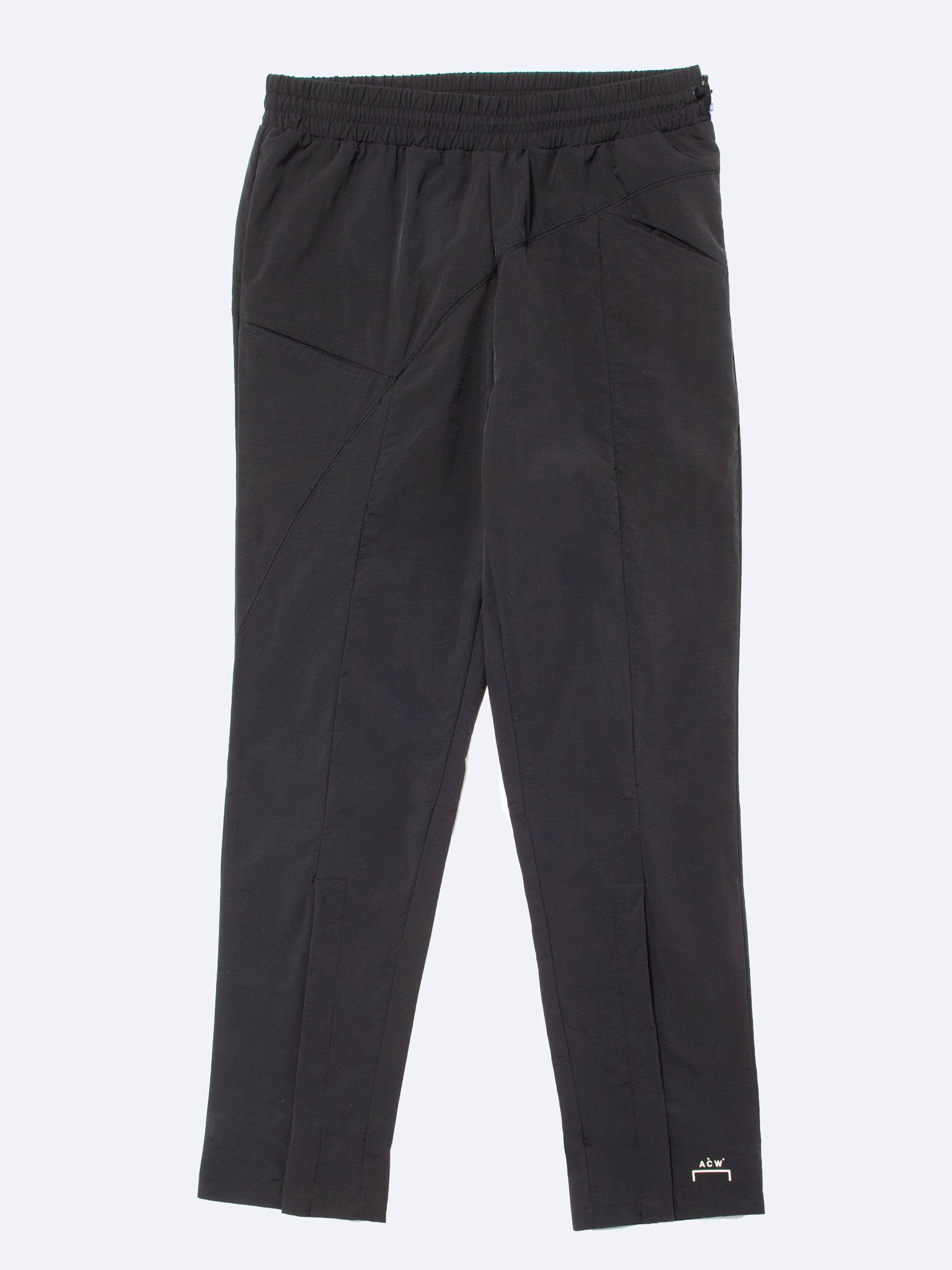 Black Woven Pant Curved Stitch Track Pants 1