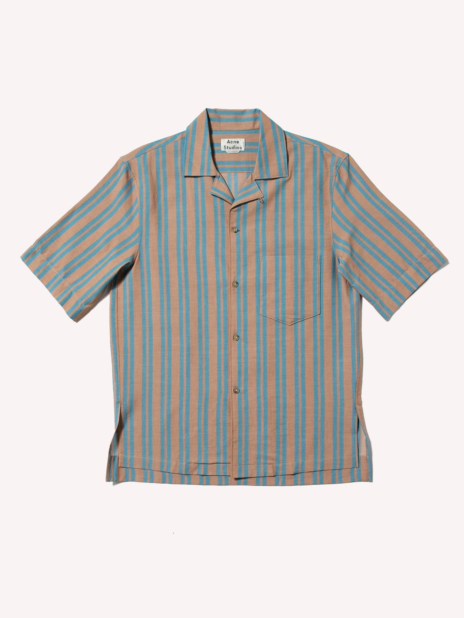 Brown/Turqouise Simon Striped Shirt 1