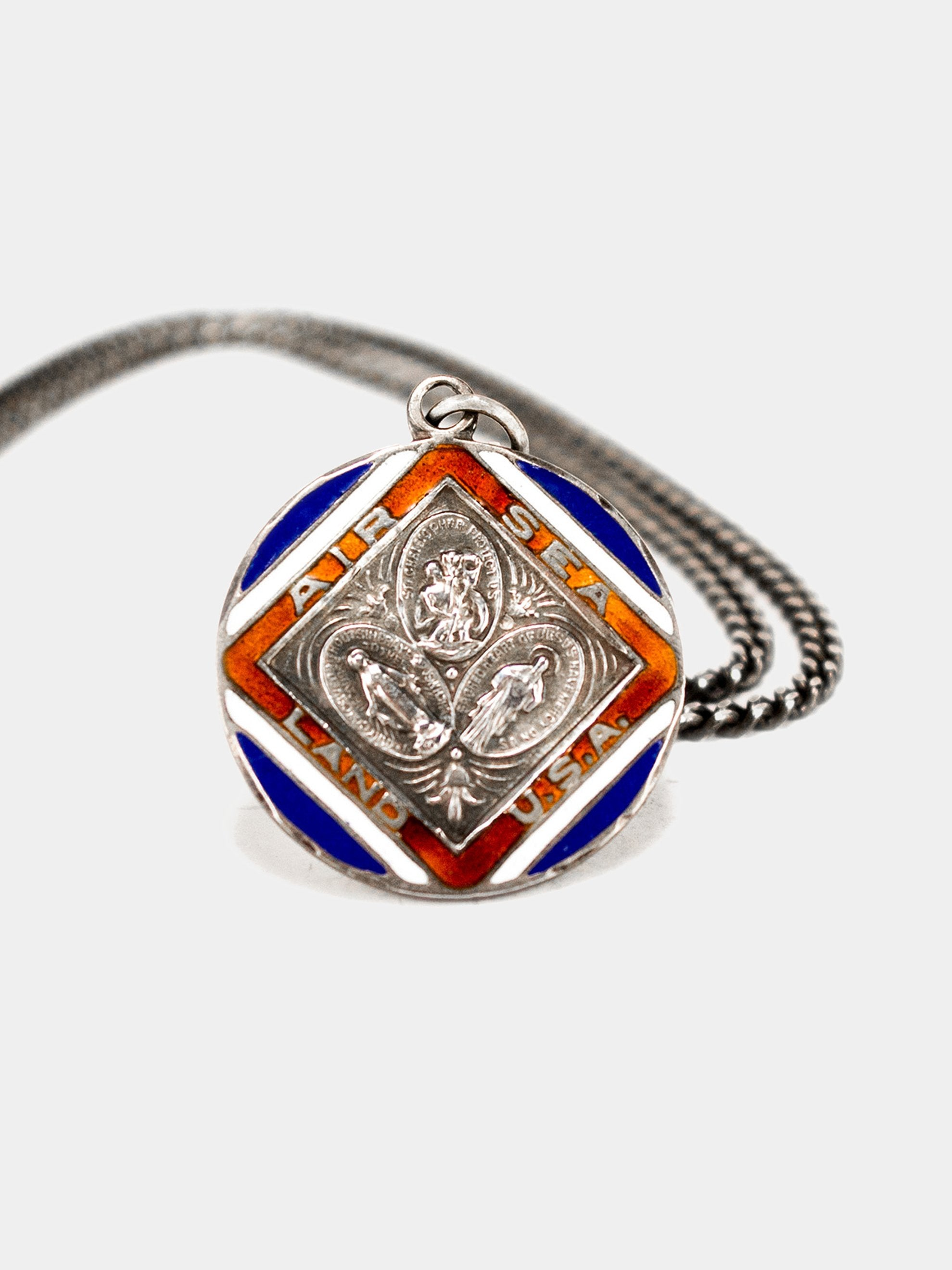 Sterling Silver 1940's Sterling Silver and Enamel Saints Necklace 1