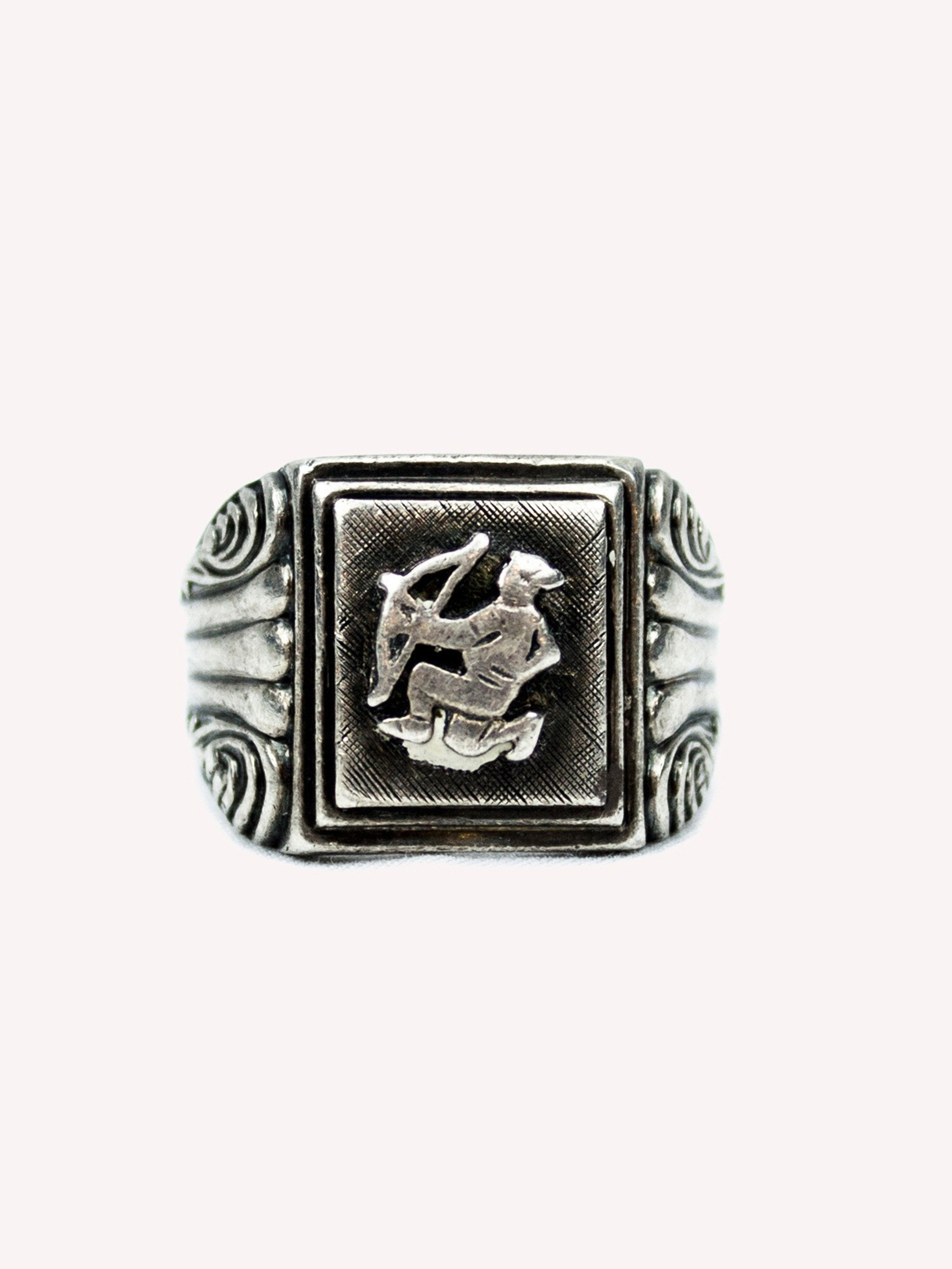 10.25 Vintage 1930's Sterling Silver Archer Ring 1