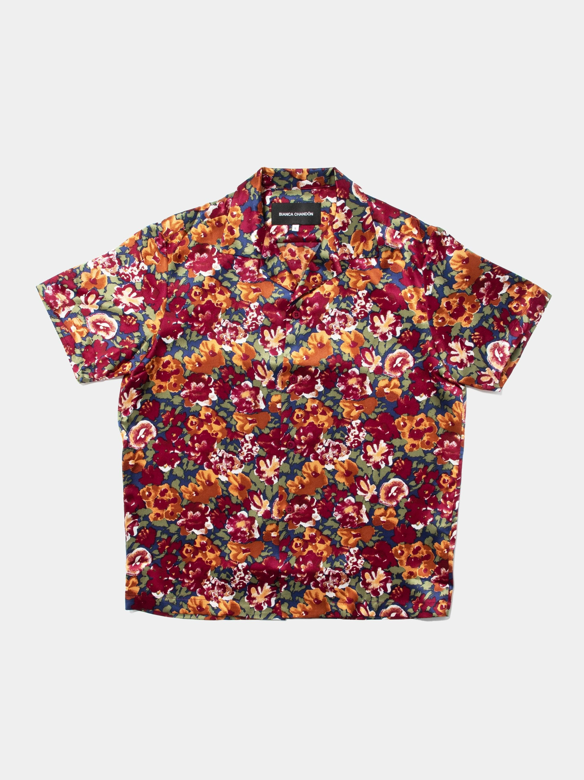 Autumn Vintage Silk Short Sleeve Shirt 1