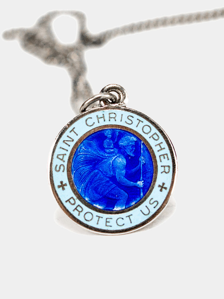 1960's Sterling Silver and Enamel St. Christopher Necklace