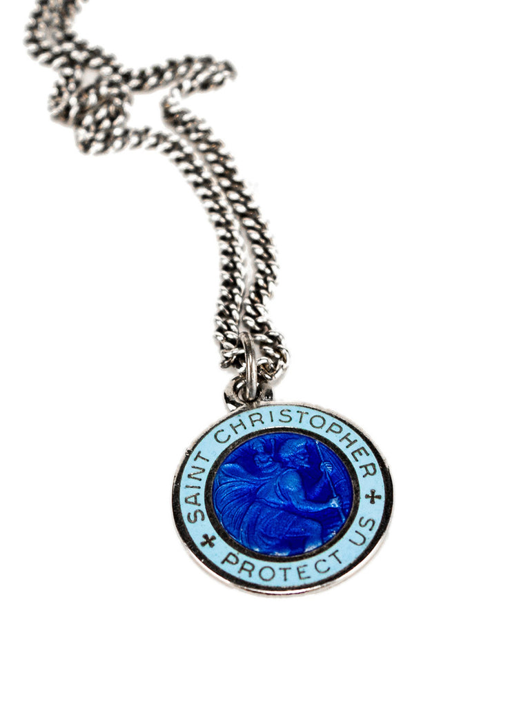 Sterling Silver 1960's Sterling Silver and Enamel St. Christopher Necklace 323412227529