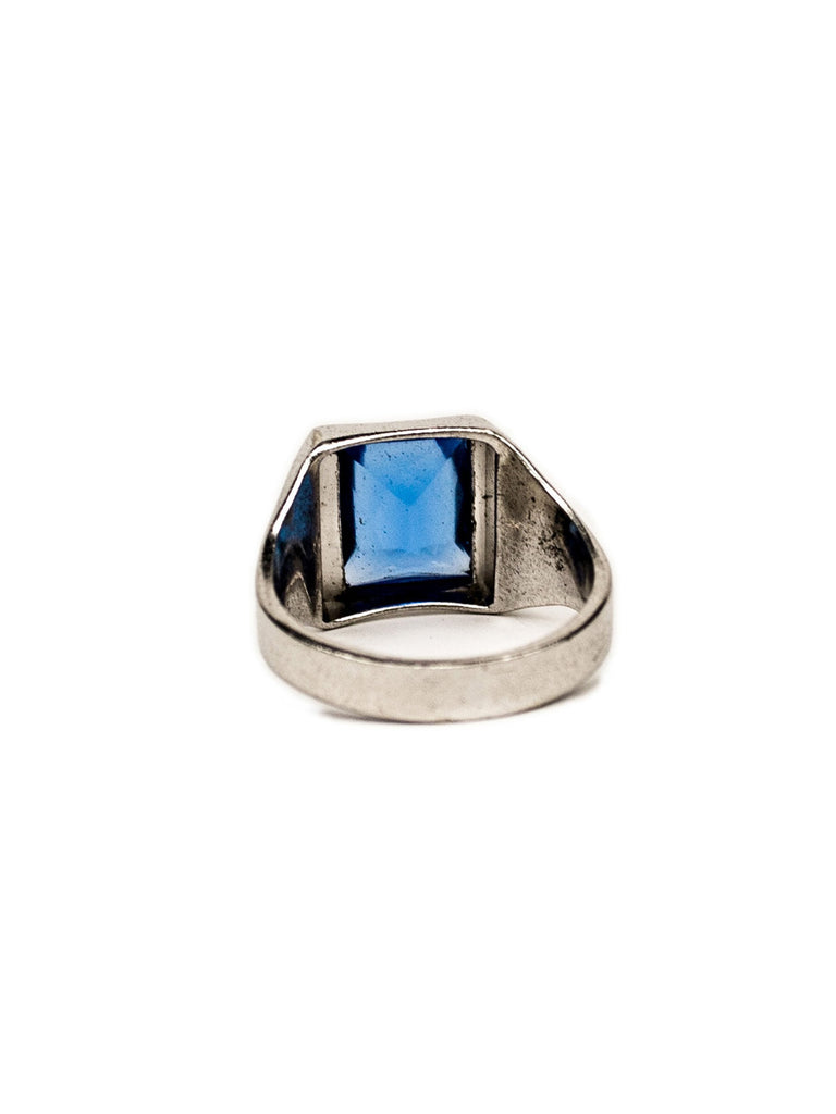 Vintage Sterling Silver Blue Glass Stone Ring
