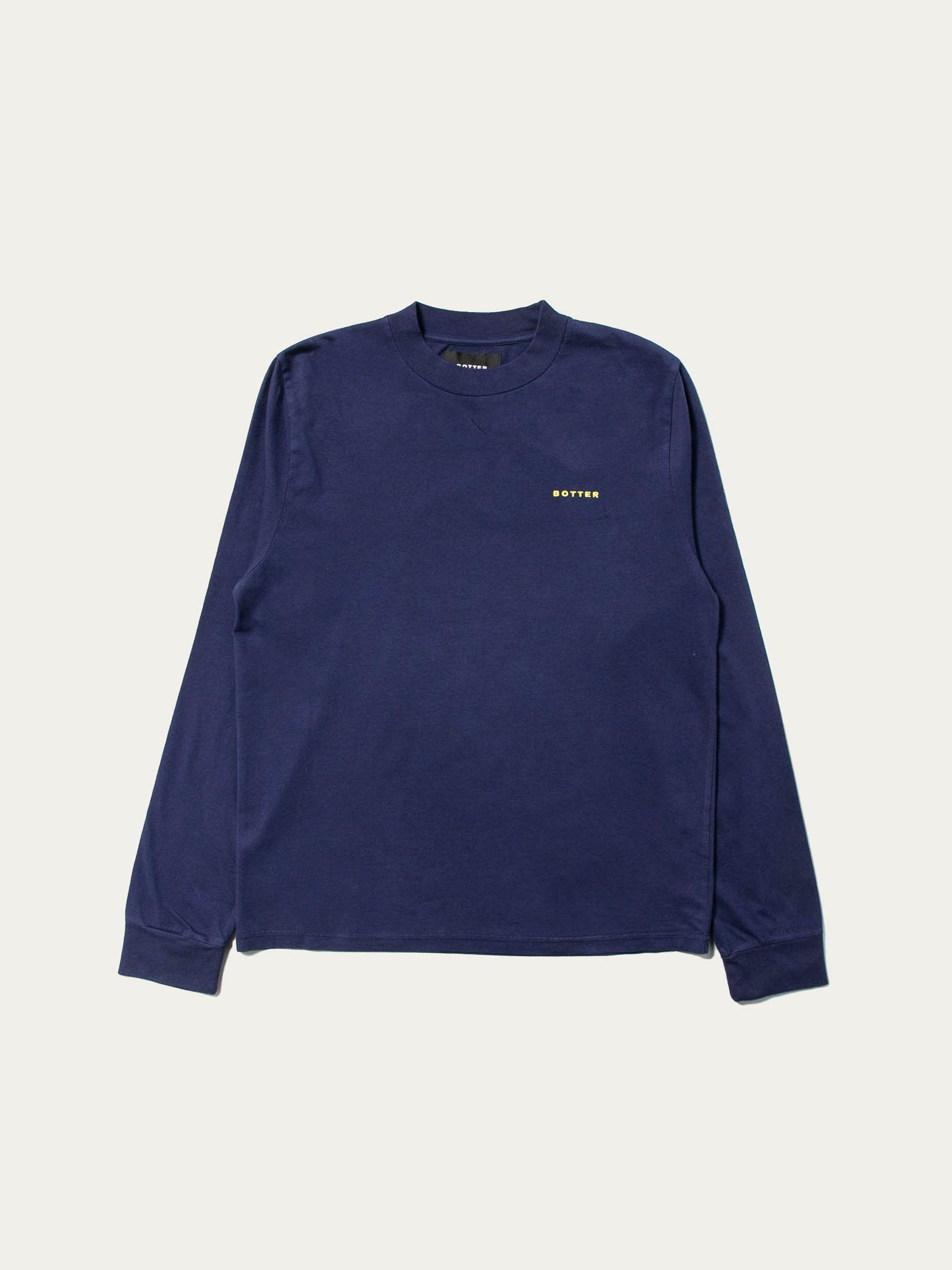 Navy Long Sleeve Embroidery Top 1