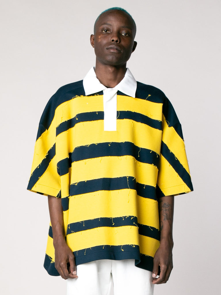 Yellow Navy Crash Polo Short Sleeves 213865988390989