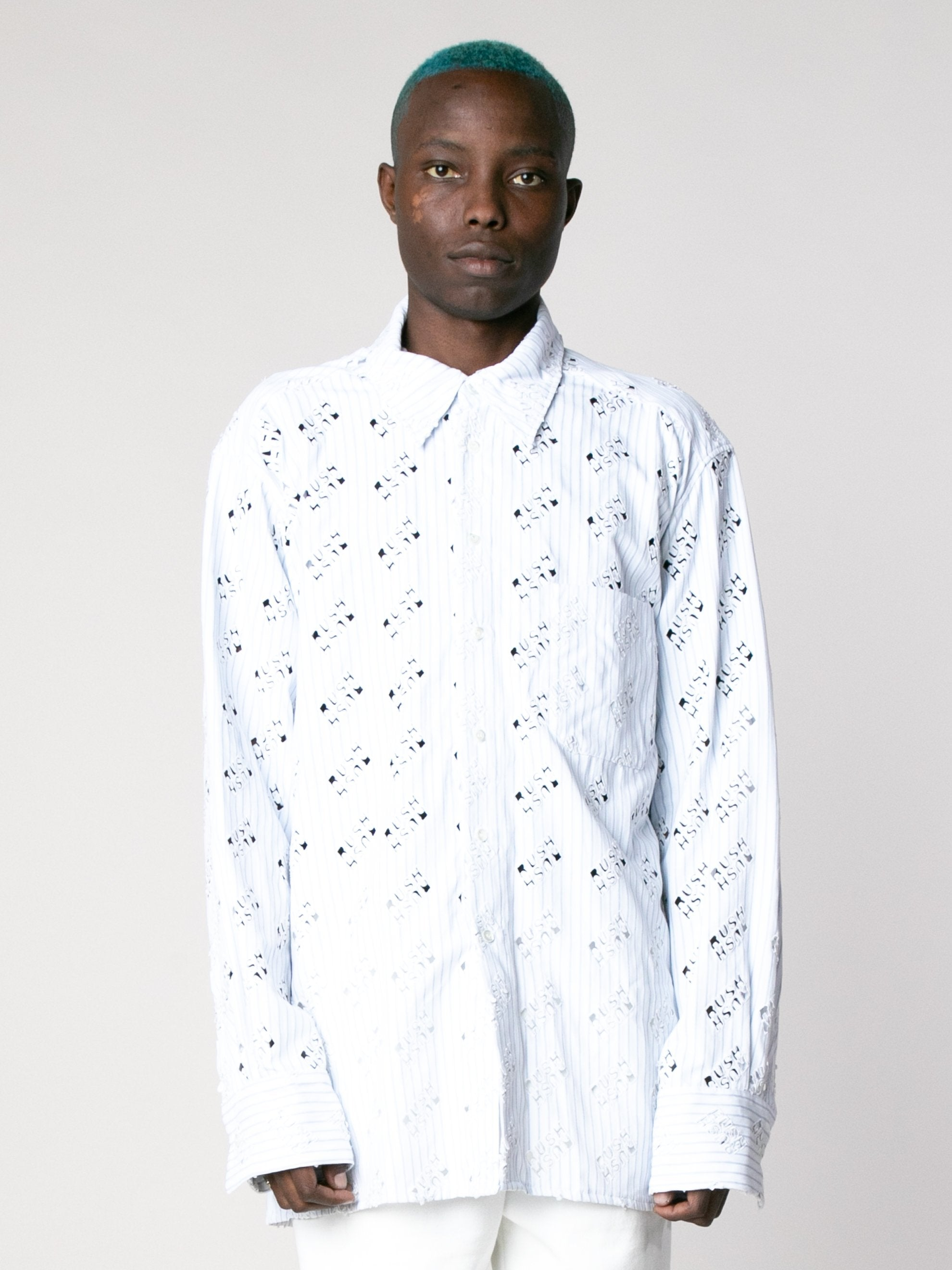White Blue Rush Rush Embroidered Shirt 2