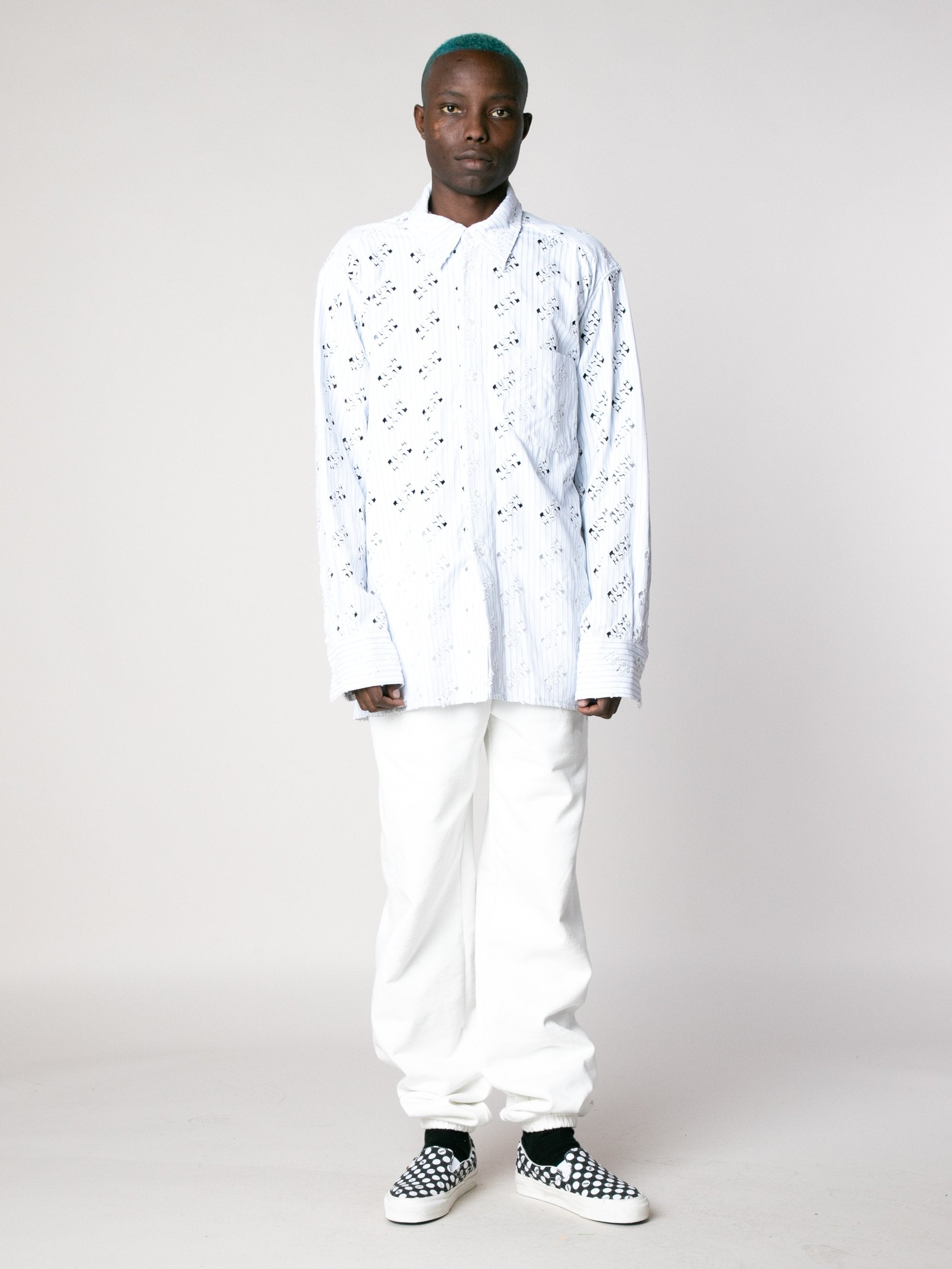 White Blue Rush Rush Embroidered Shirt 3
