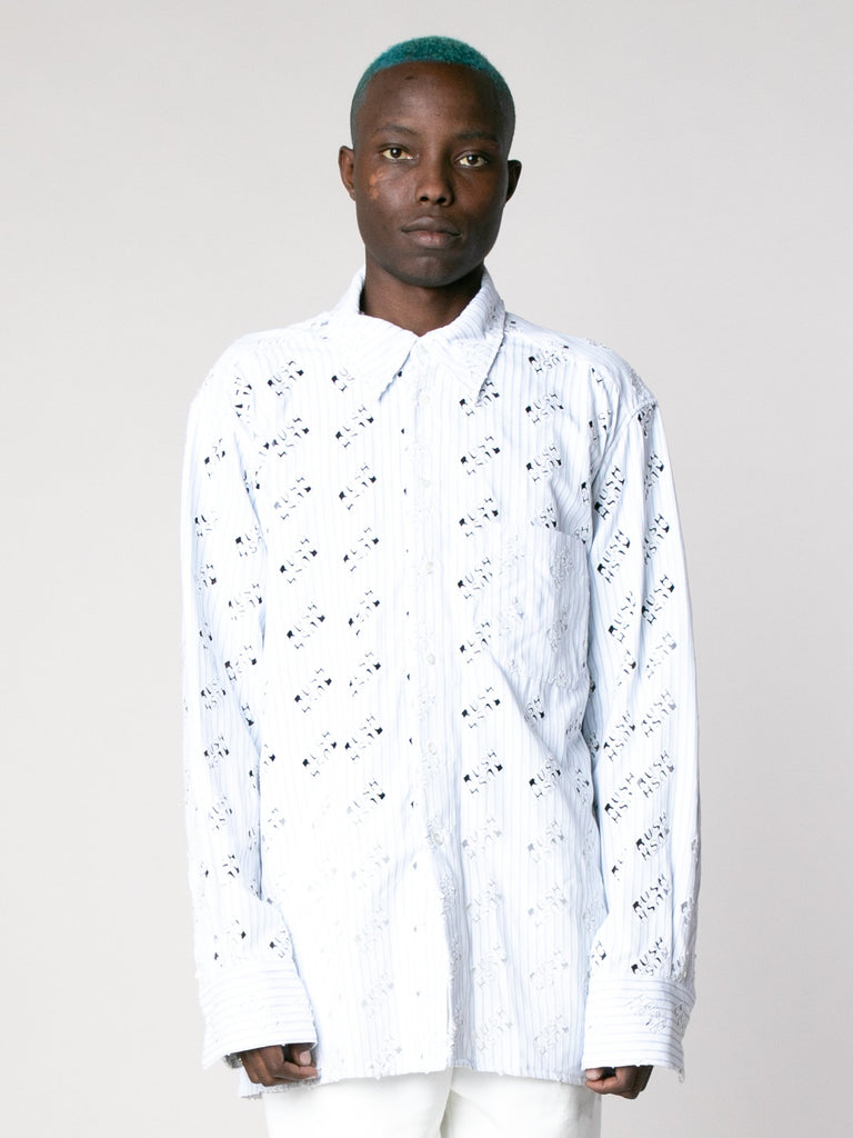 White Blue Rush Rush Embroidered Shirt 213865986129997