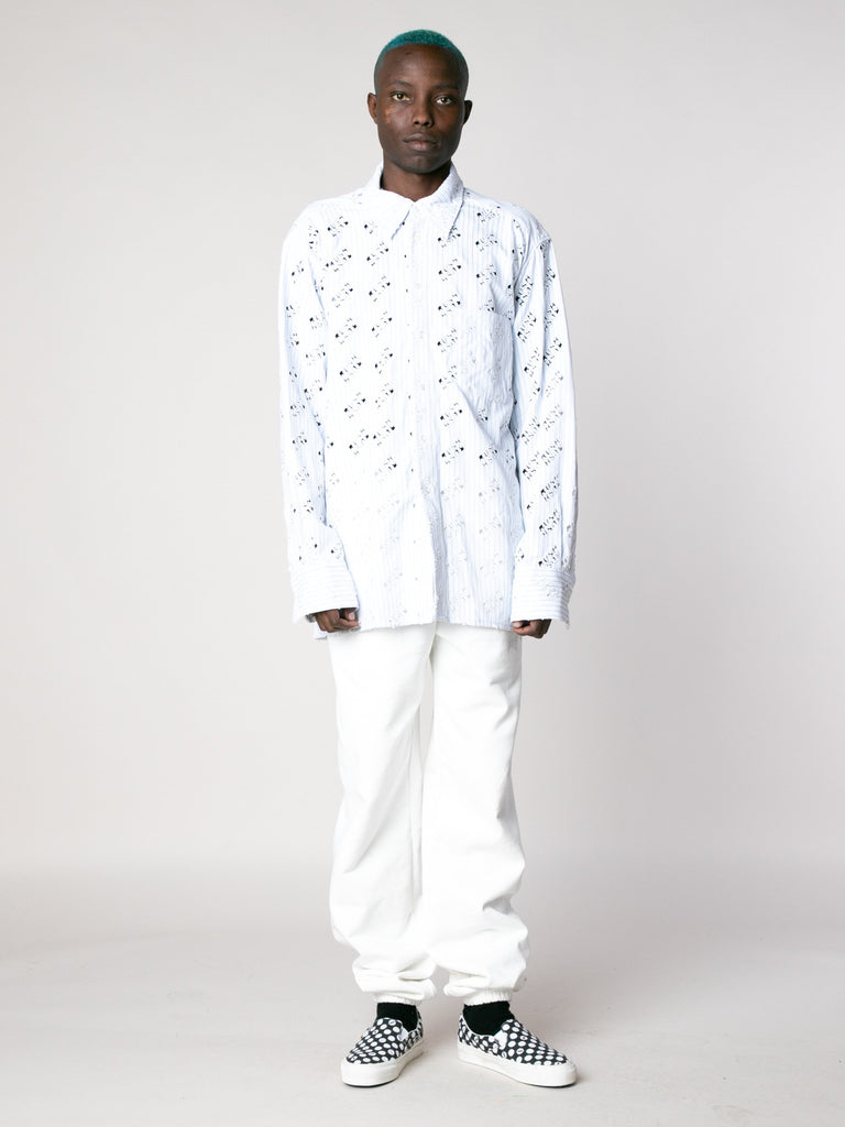 White Blue Rush Rush Embroidered Shirt 313865986162765