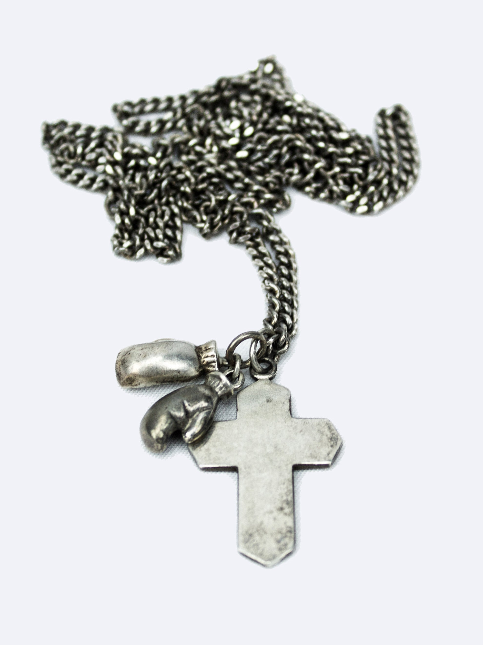 Sterling Silver Vintage 1940's Sterling Silver Cross & Boxing Gloves Necklace 1