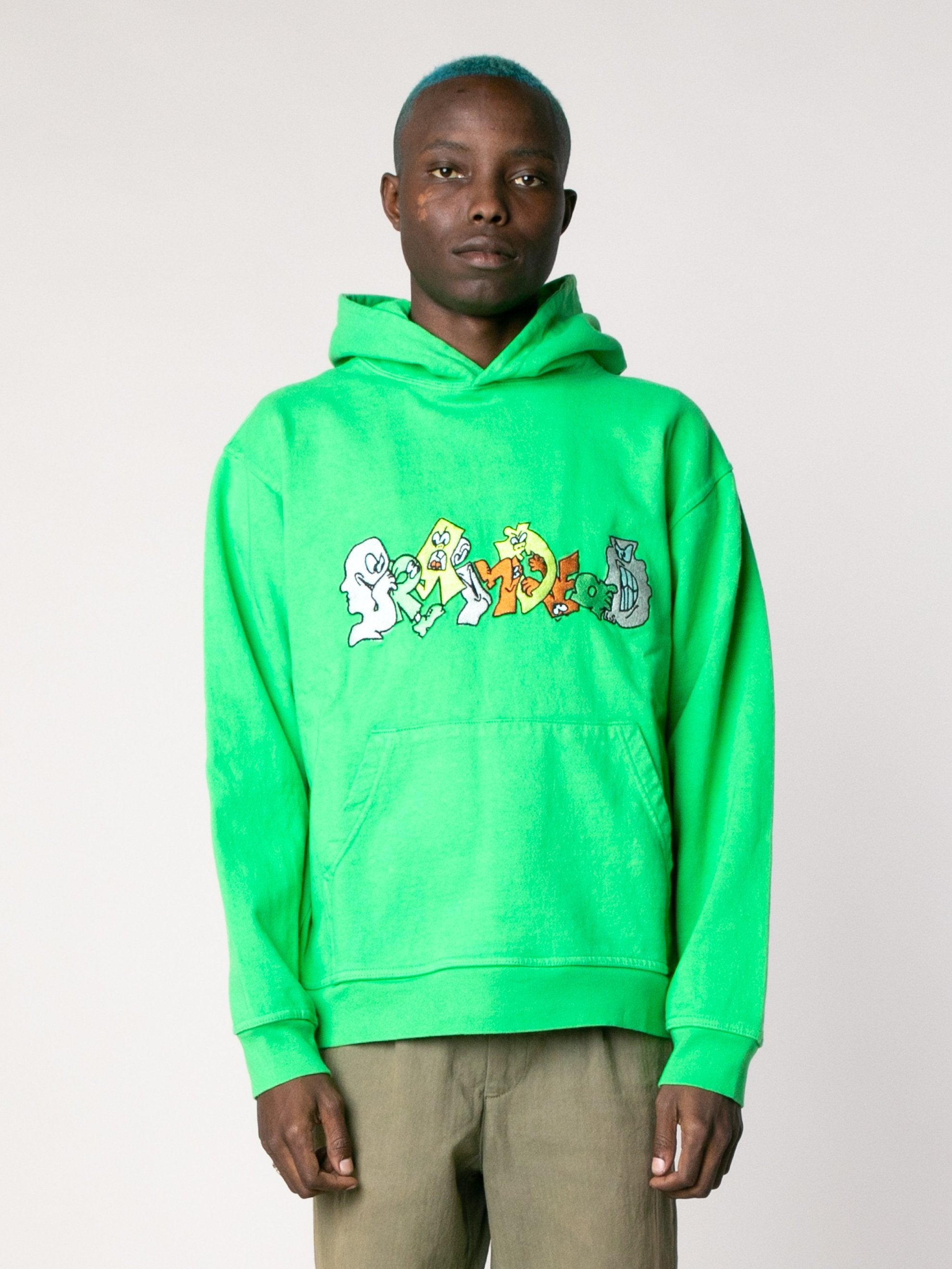 Kelly Green Embroidered Graffiti Hoodie 2