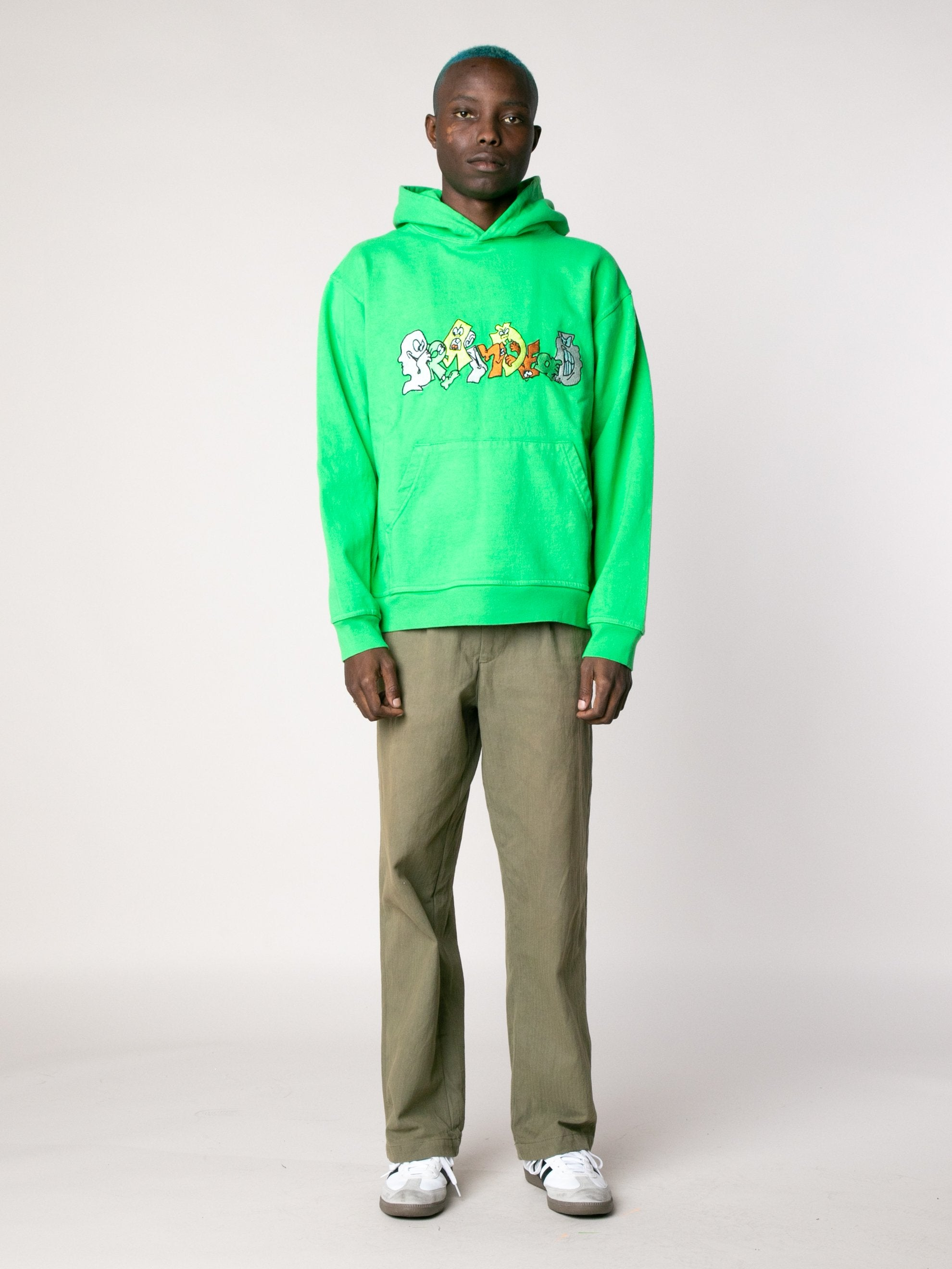 Kelly Green Embroidered Graffiti Hoodie 3
