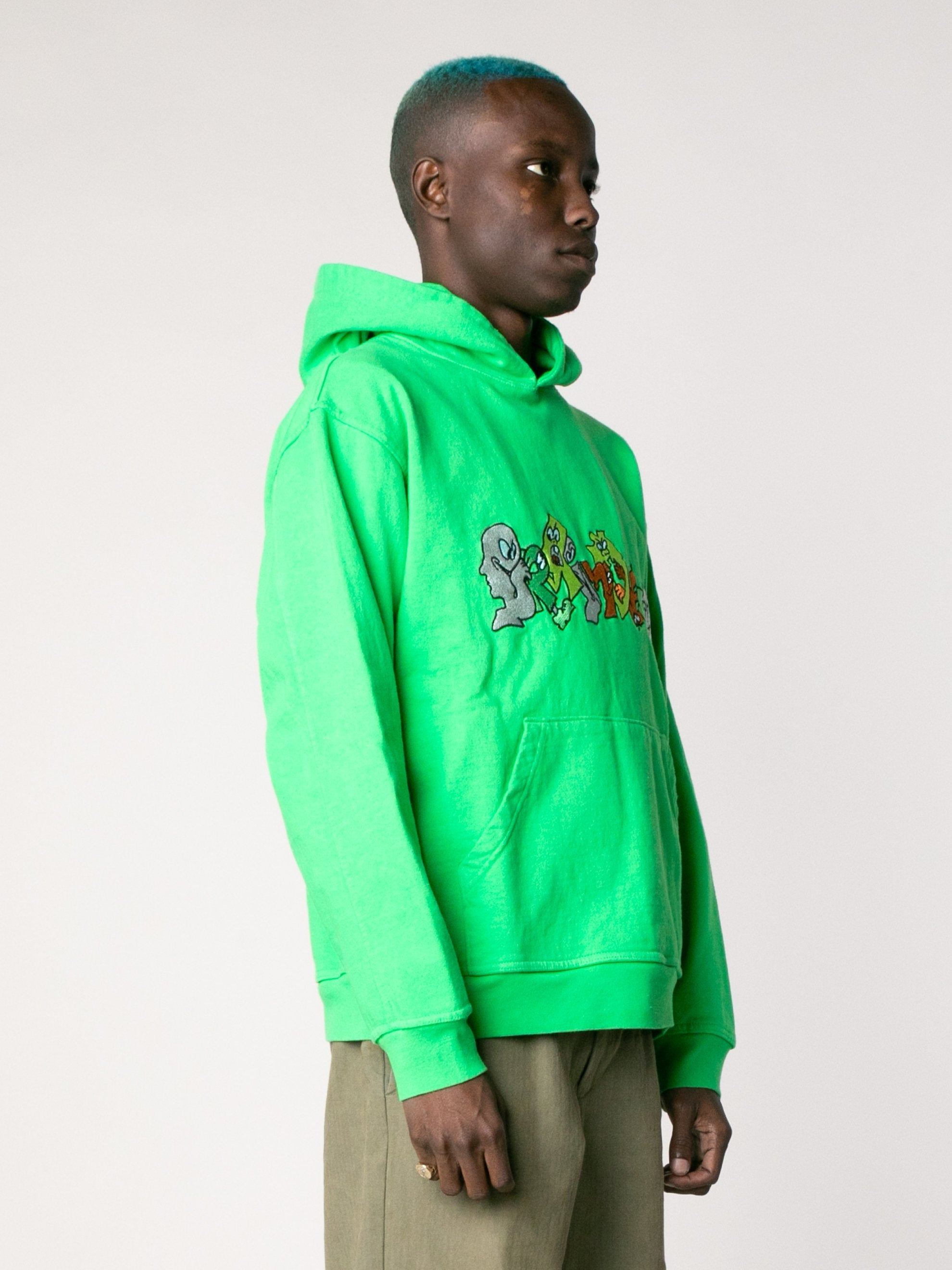 Kelly Green Embroidered Graffiti Hoodie 4