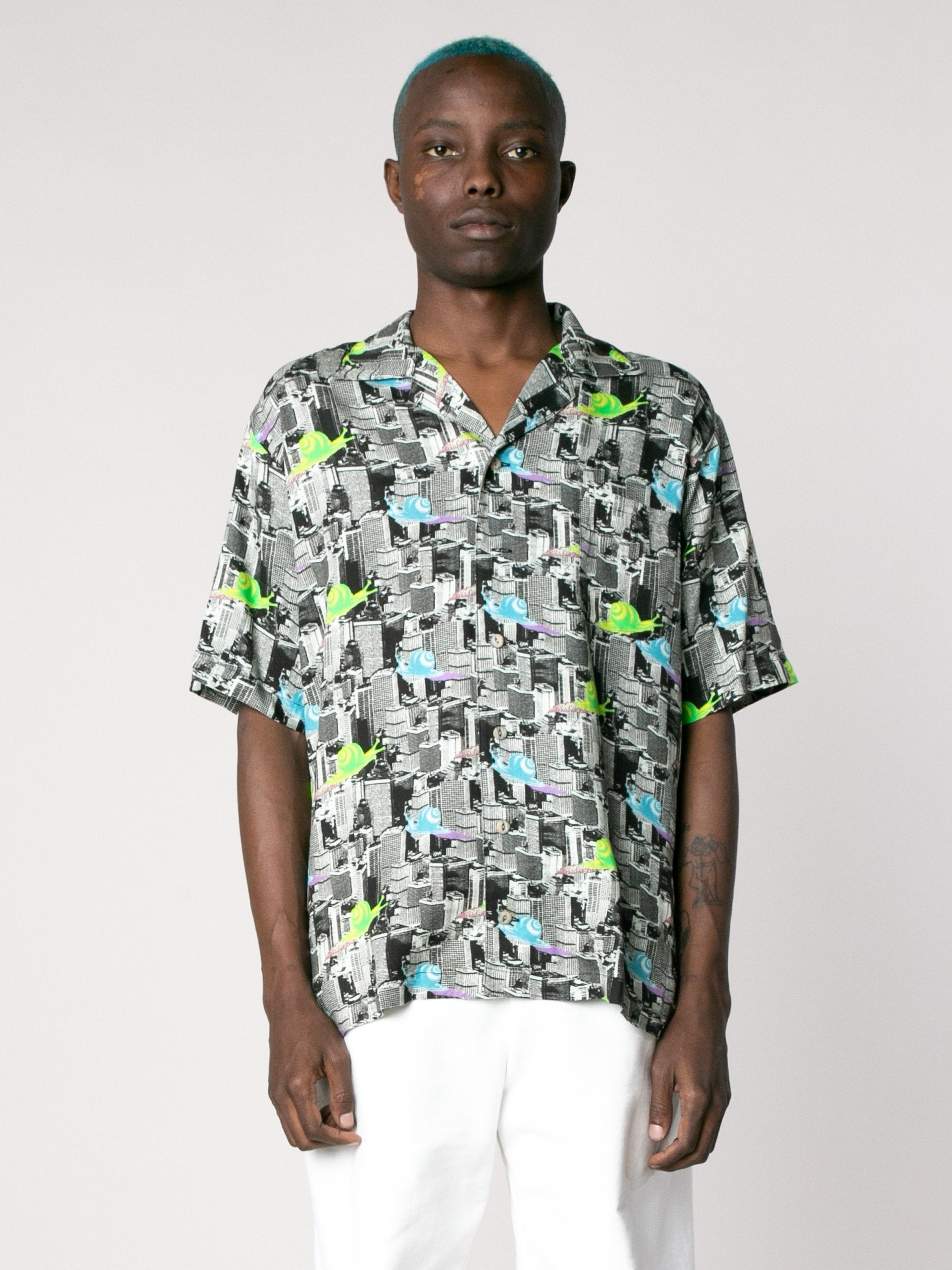Multi Snail Print Short Sleeve Button Down Shirt 2