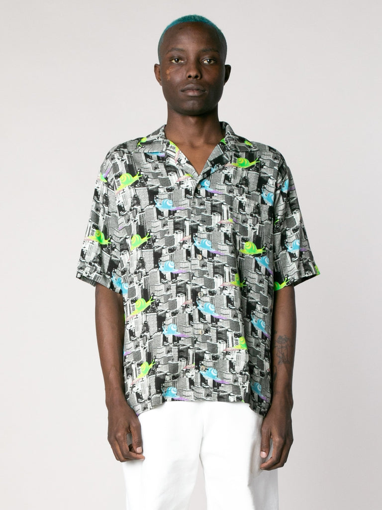 Multi Snail Print Short Sleeve Button Down Shirt 213862095487053