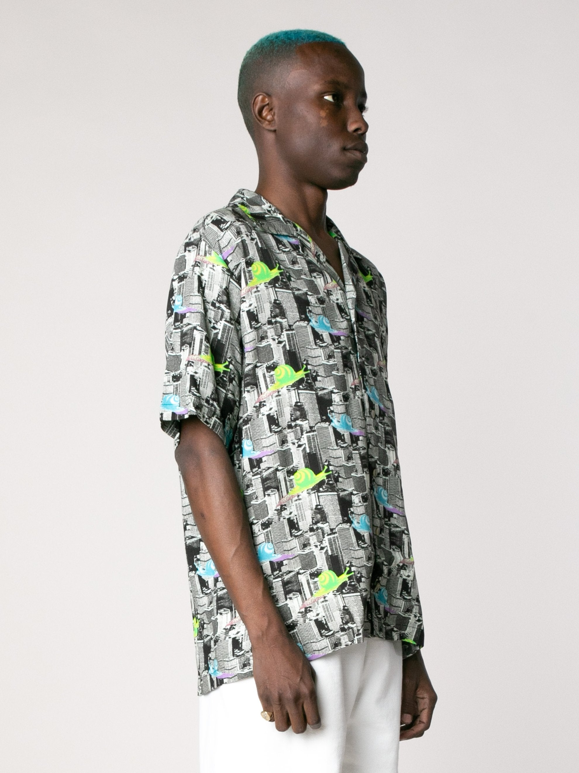 Multi Snail Print Short Sleeve Button Down Shirt 4