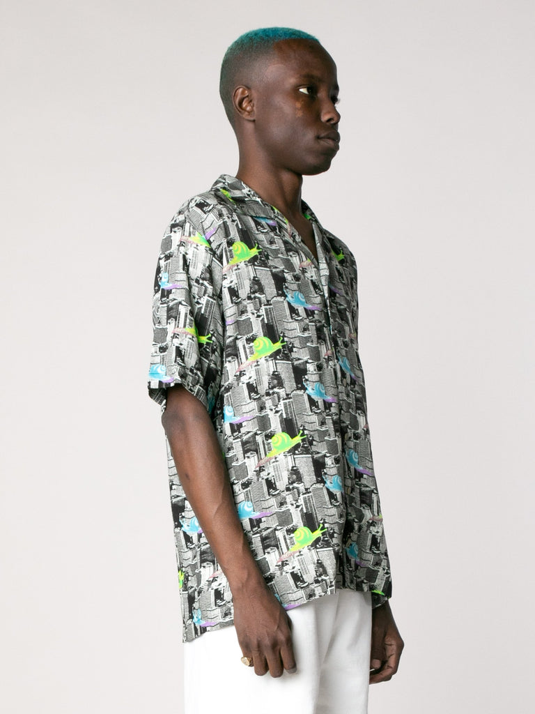Multi Snail Print Short Sleeve Button Down Shirt 413862095552589
