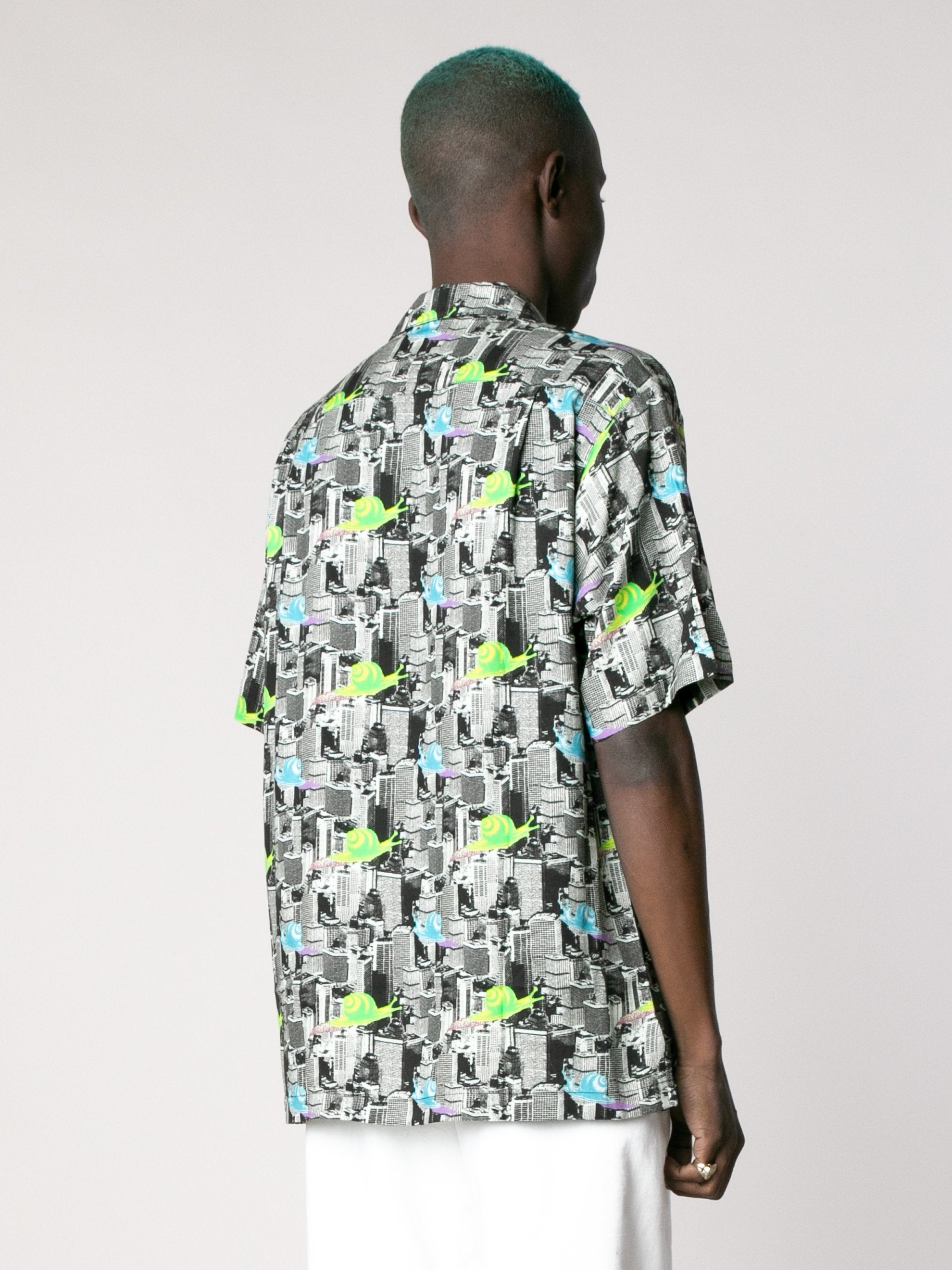 Multi Snail Print Short Sleeve Button Down Shirt 5