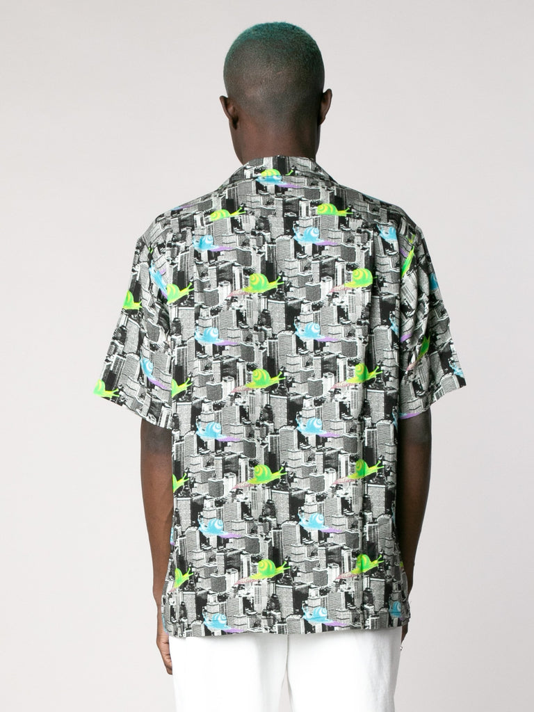 Multi Snail Print Short Sleeve Button Down Shirt 613862095618125