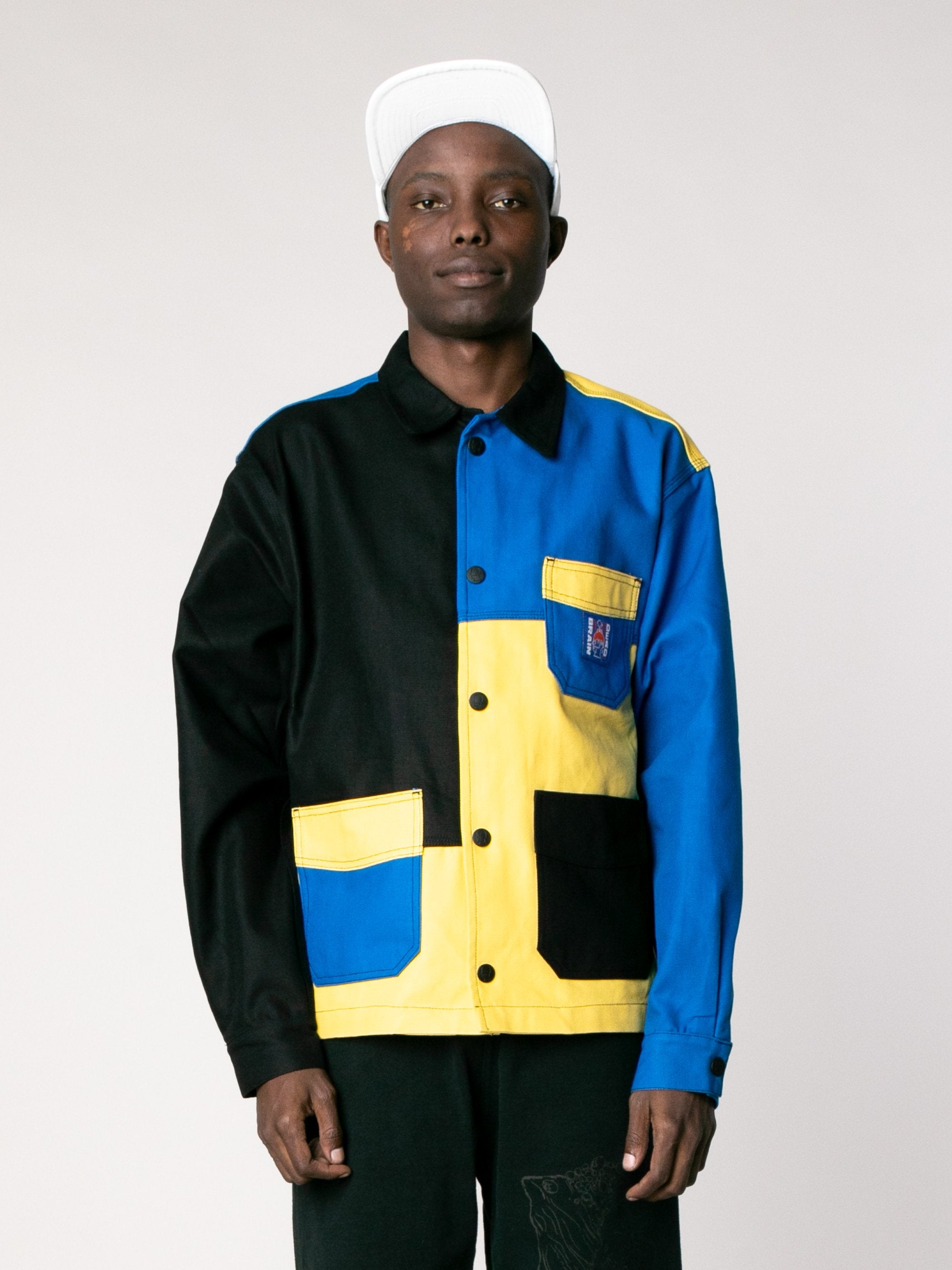 Yellow / Blue /Color Block Canvas Chore Coat 2
