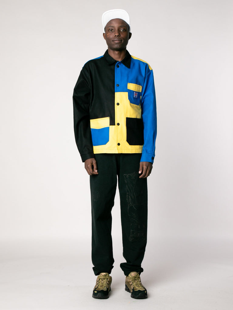 Yellow / Blue /Color Block Canvas Chore Coat 313862927237197