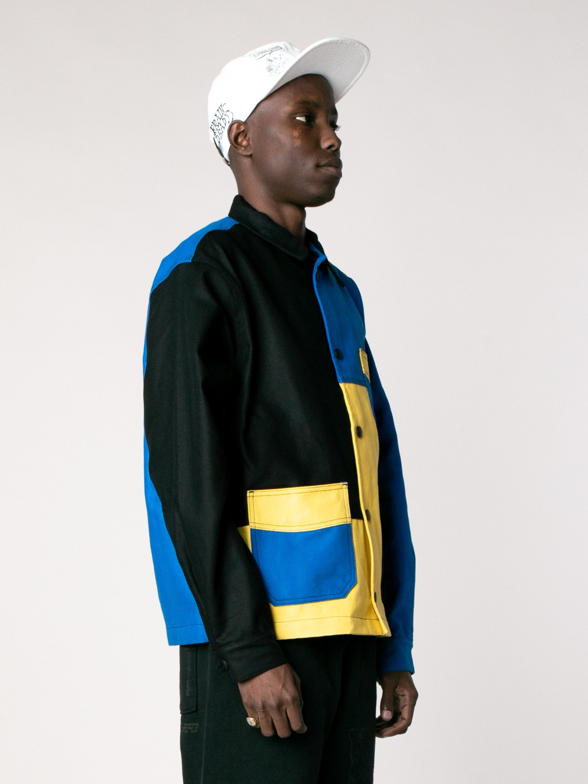 Yellow / Blue /Color Block Canvas Chore Coat 4