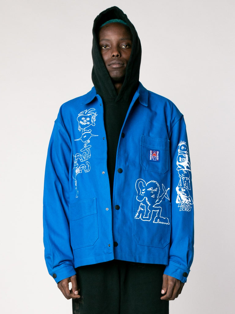 Blue Printed Canvas Chore Coat 213862907871309