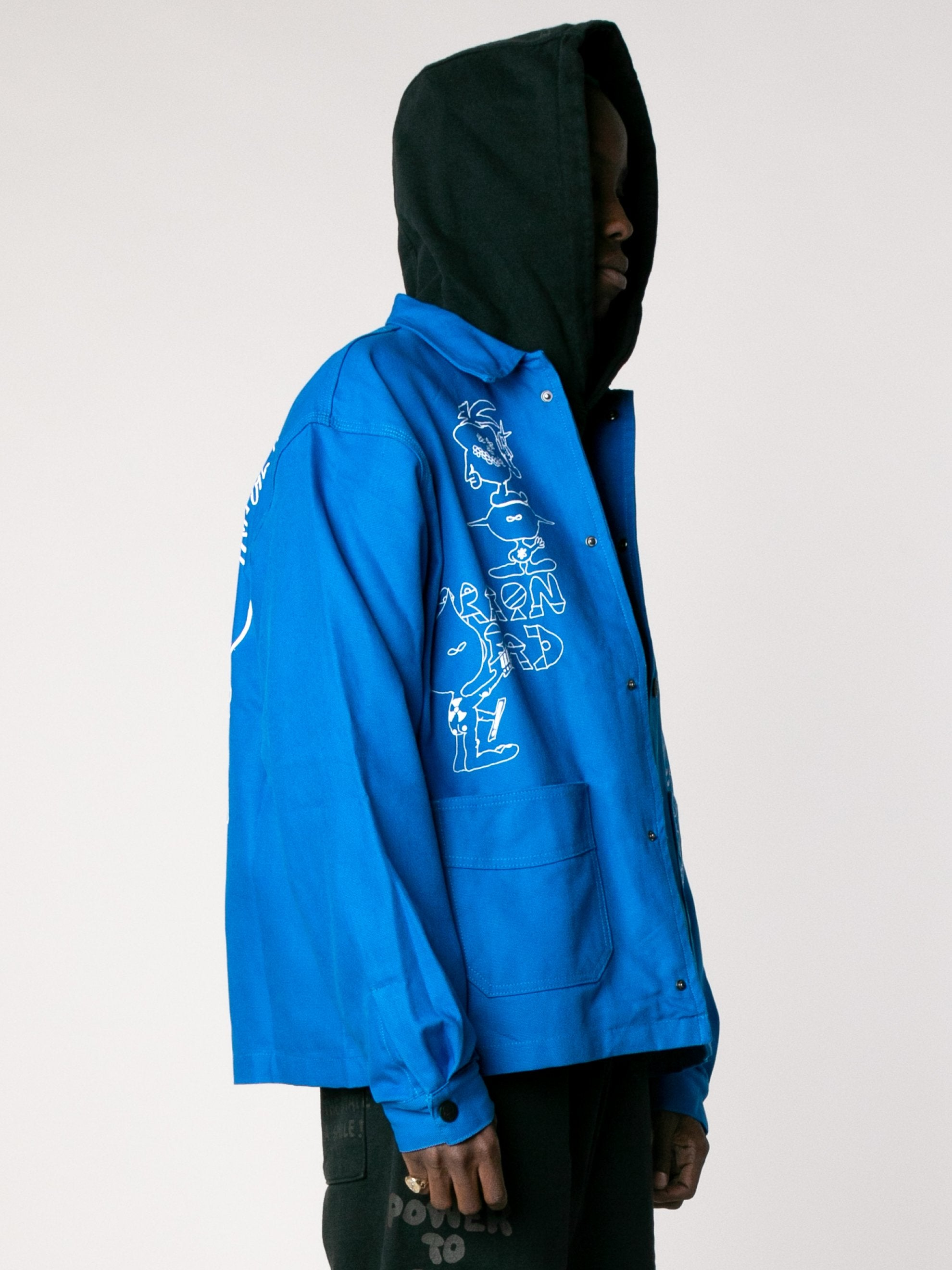 Blue Printed Canvas Chore Coat 4