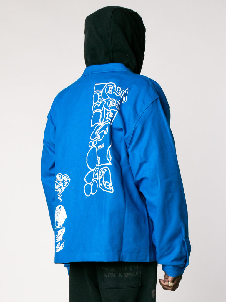 Blue Printed Canvas Chore Coat 513862907969613