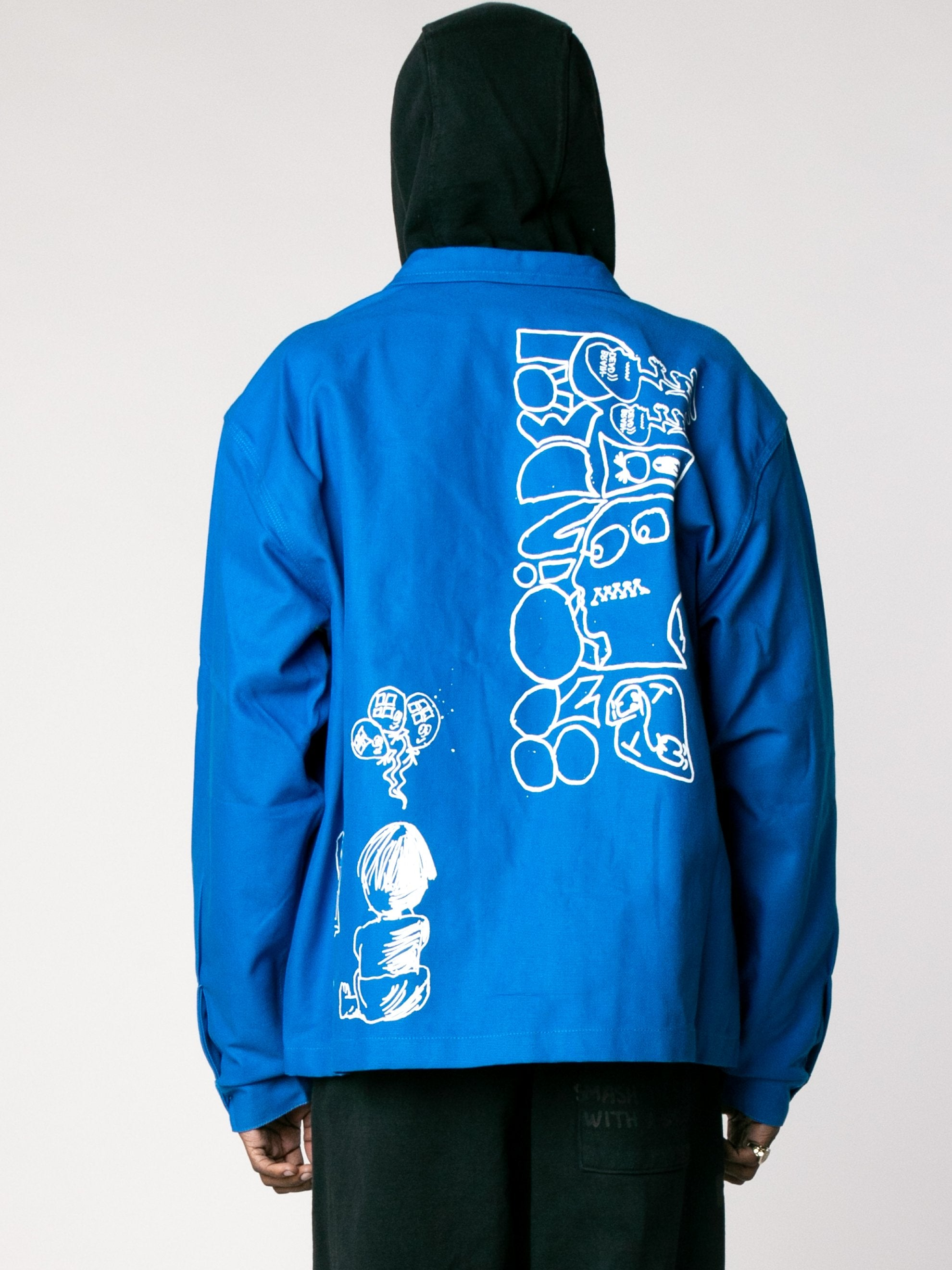 Blue Printed Canvas Chore Coat 6