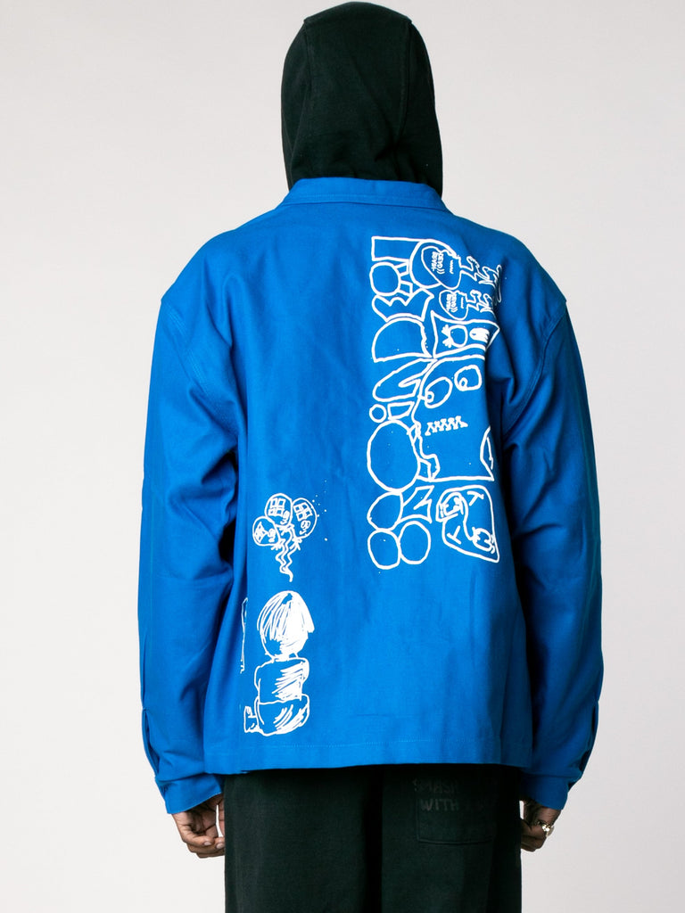 Blue Printed Canvas Chore Coat 613862908002381