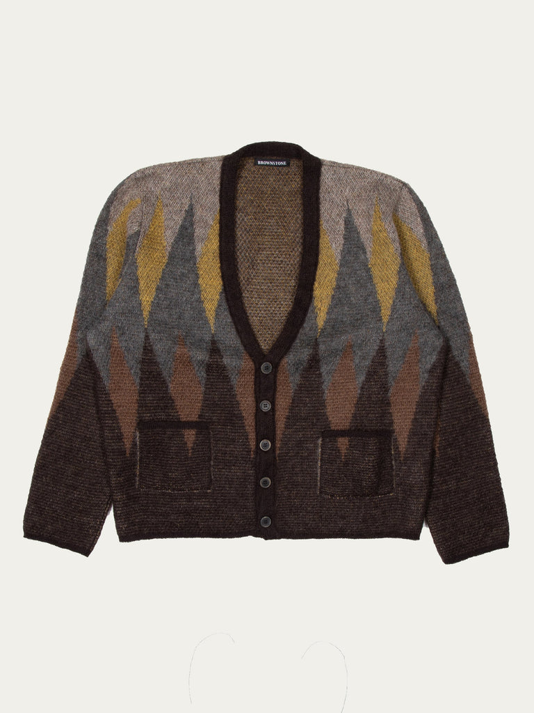 Argyle Motif Knitted Mohair Cardigan