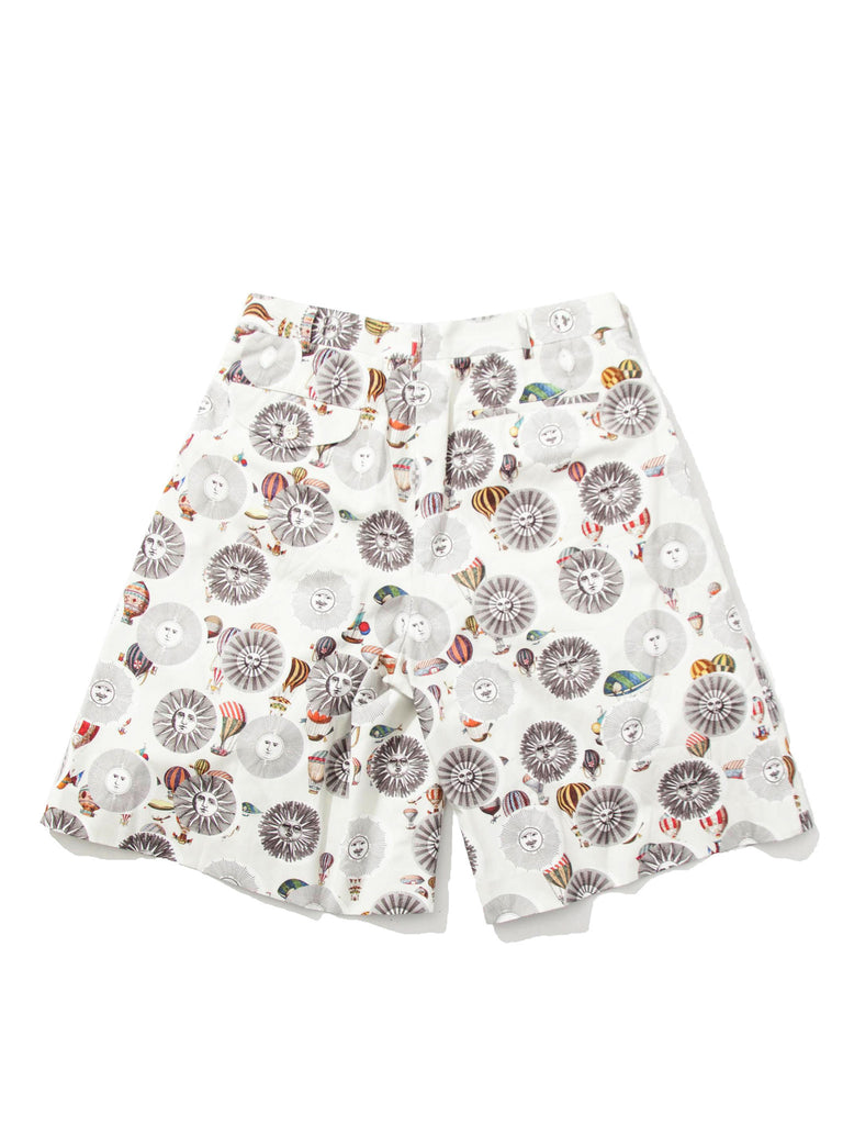 Printed Motif Pleated Shorts
