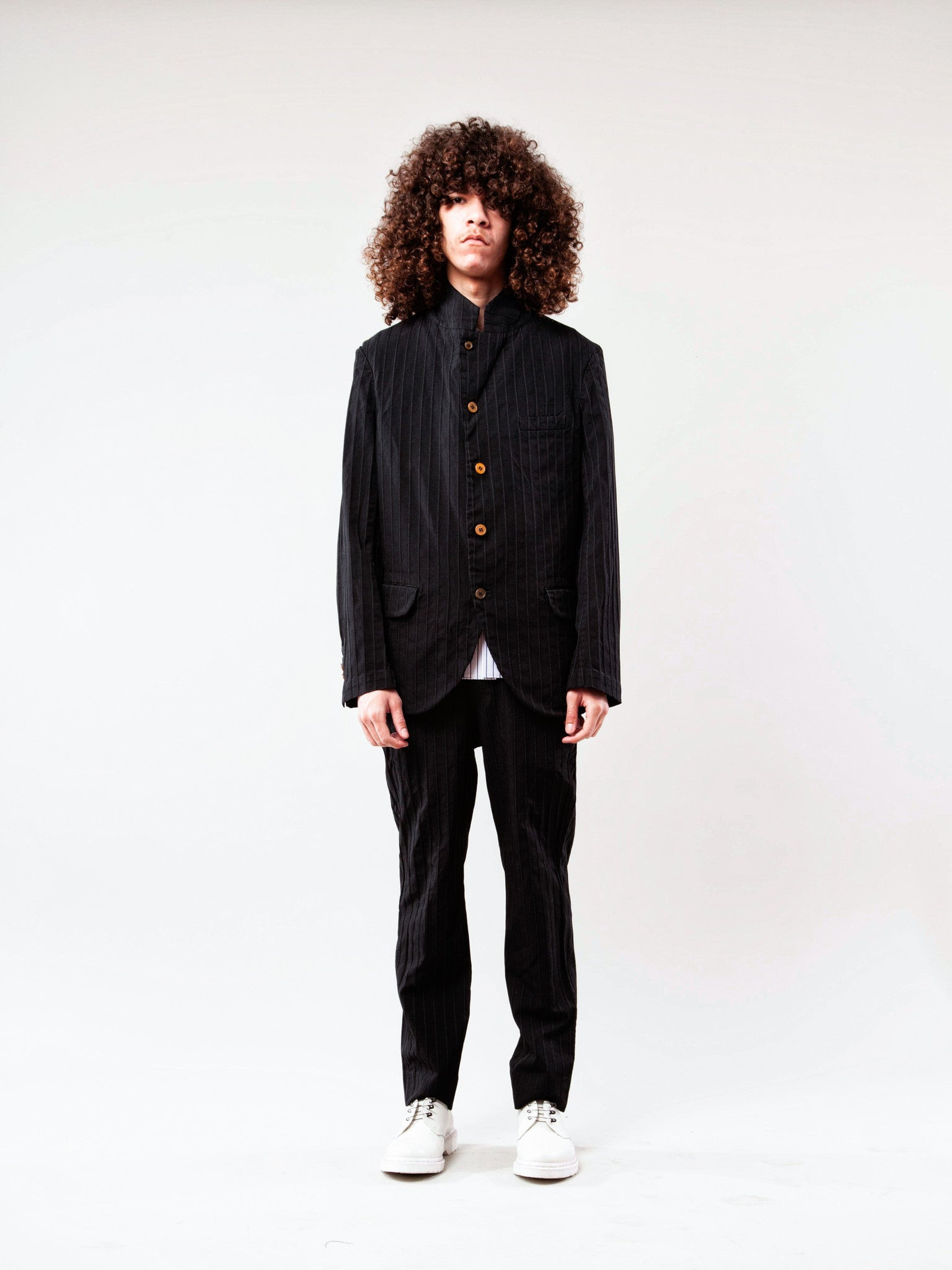 Black Stripe Boiled Poly Blazer 5