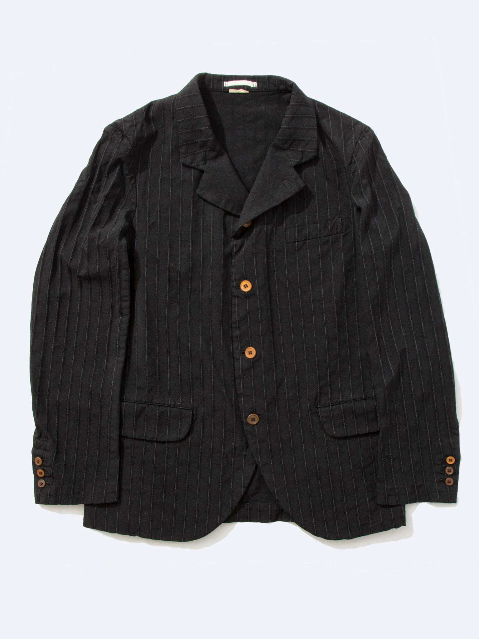 Black Stripe Boiled Poly Blazer 1