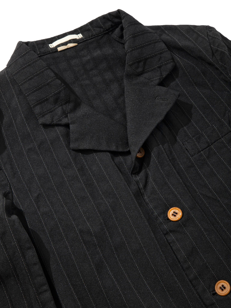 Black Stripe Boiled Poly Blazer 718408739913