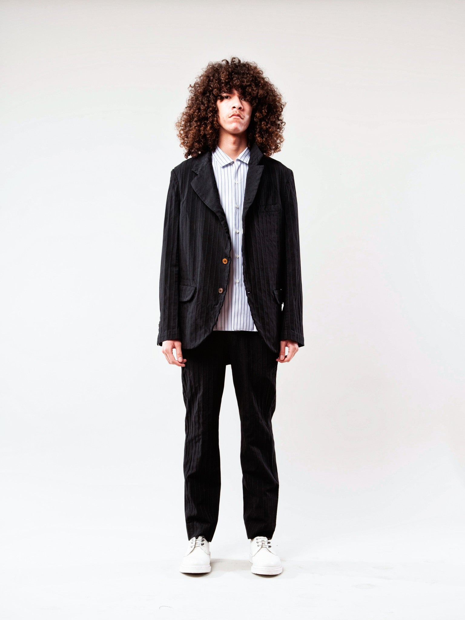 Black Stripe Boiled Poly Blazer 2