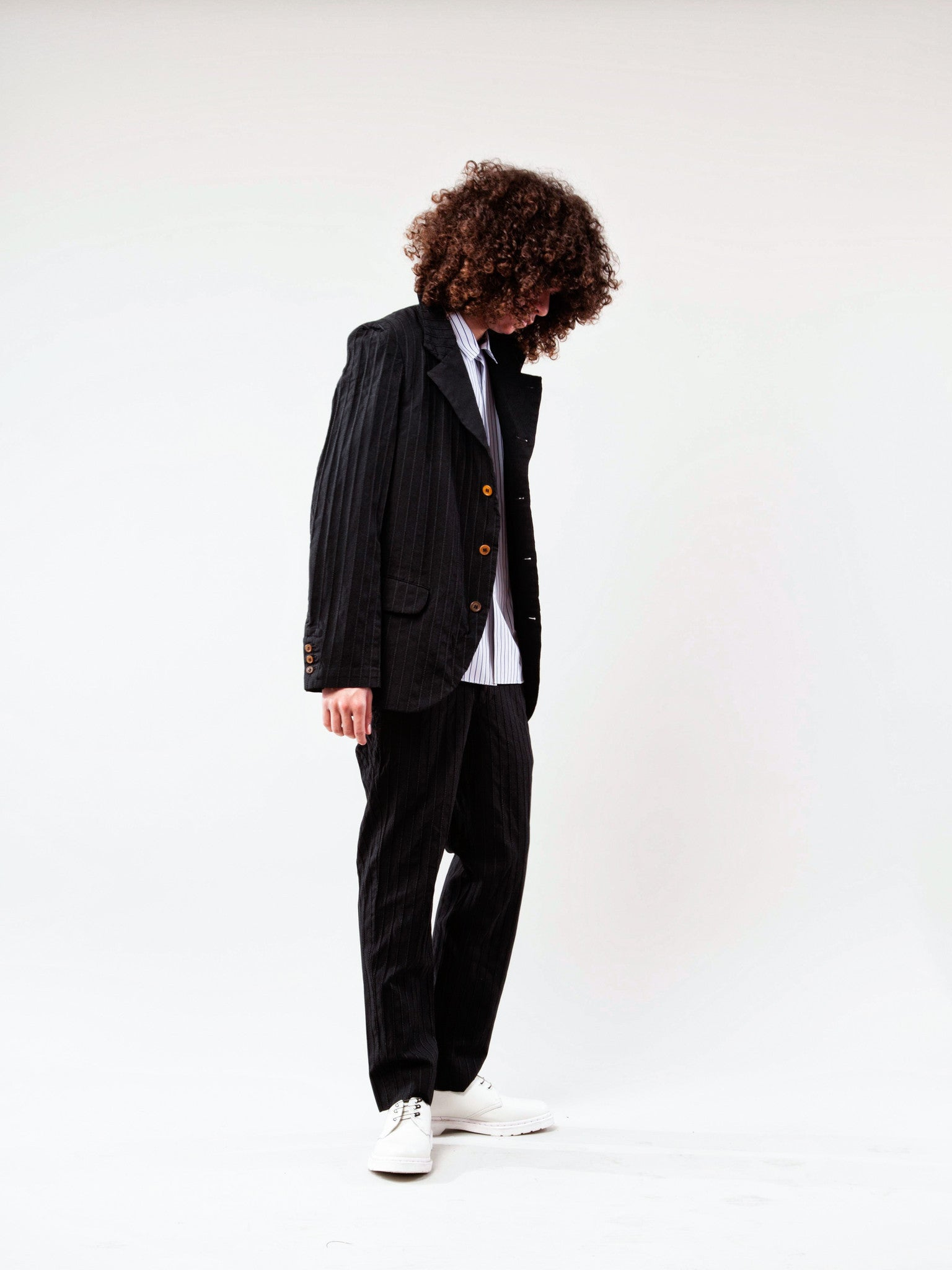 Black Stripe Poly Boiled Trouser 3