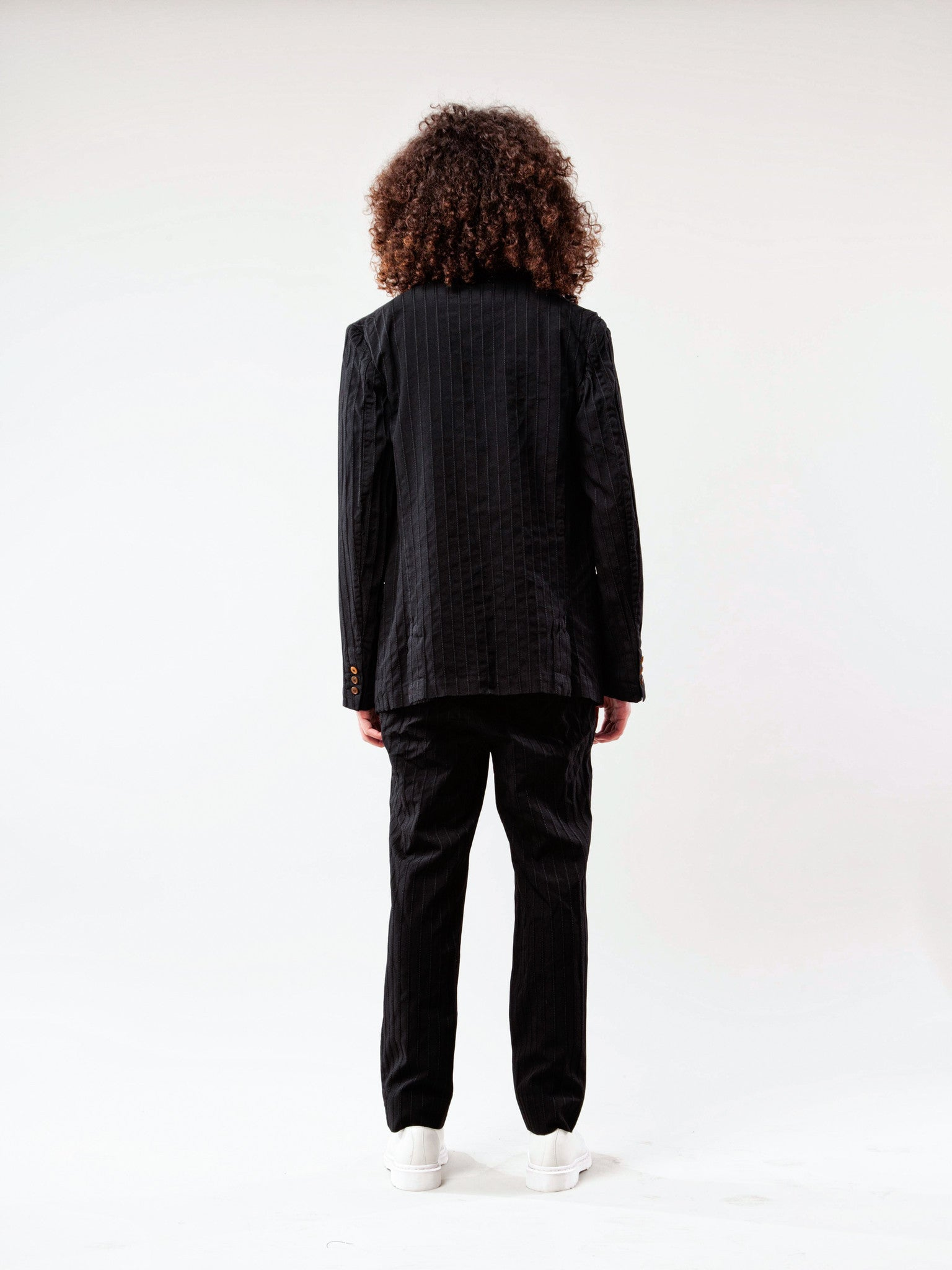 Black Stripe Poly Boiled Trouser 4