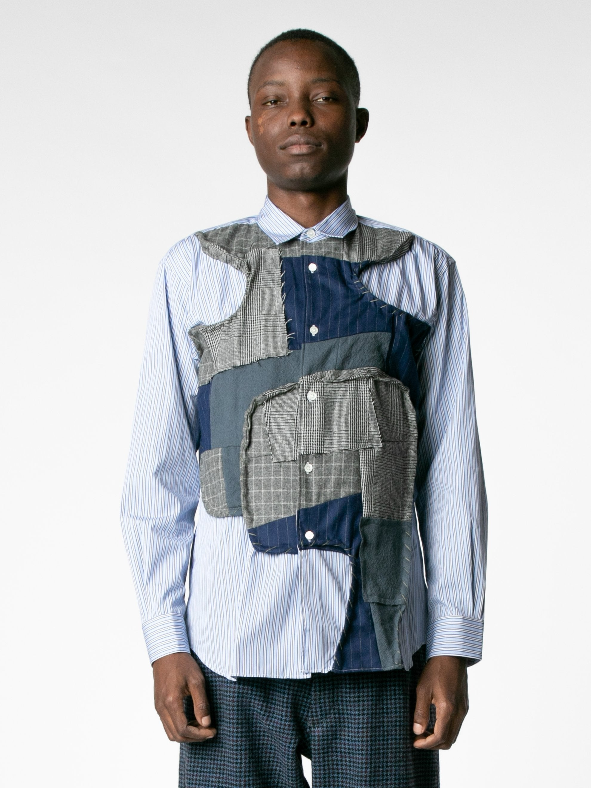 White / Mix Reconstructed Front Patch Paneled Stripe Shirt 2