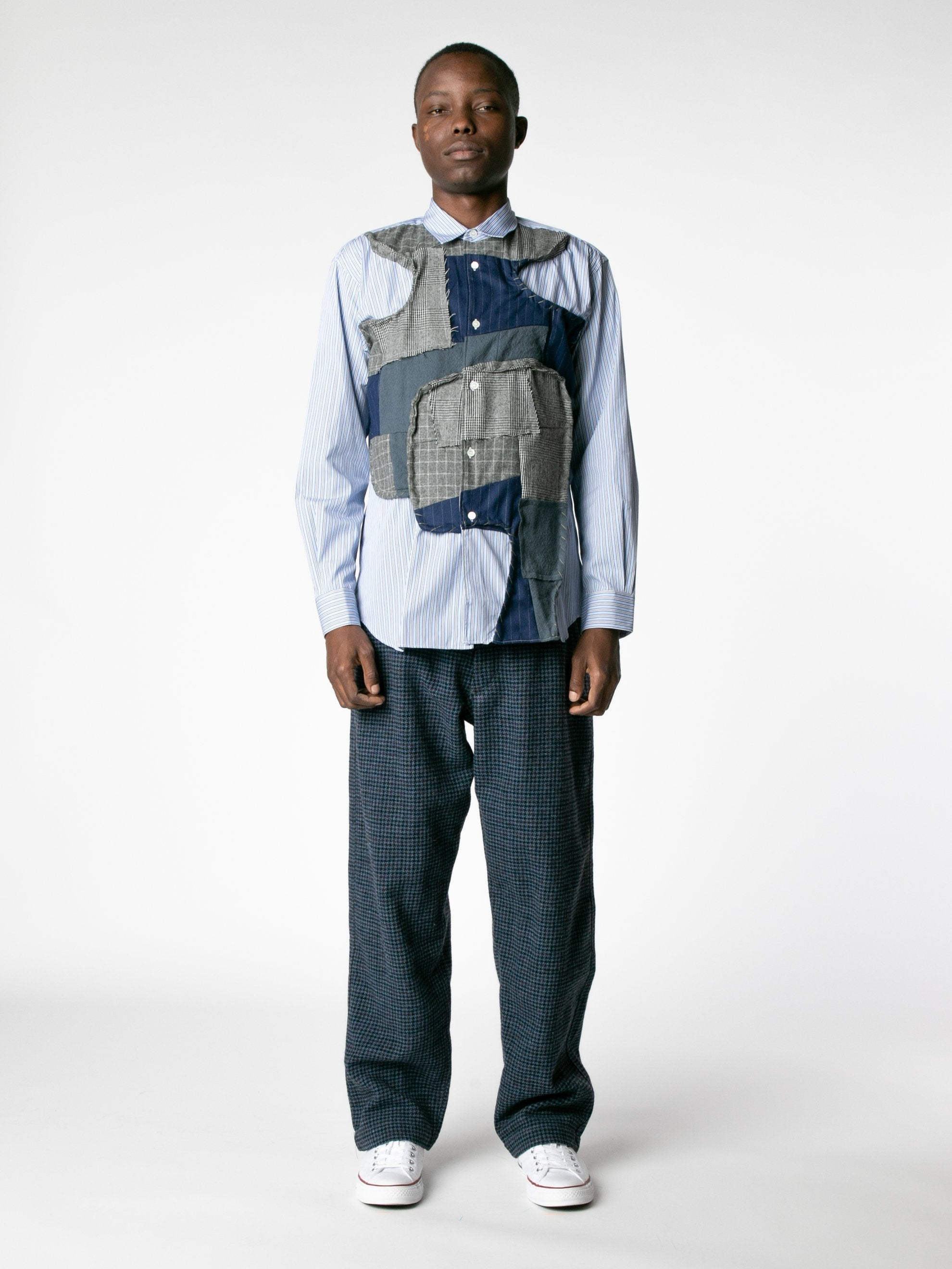White / Mix Reconstructed Front Patch Paneled Stripe Shirt 3
