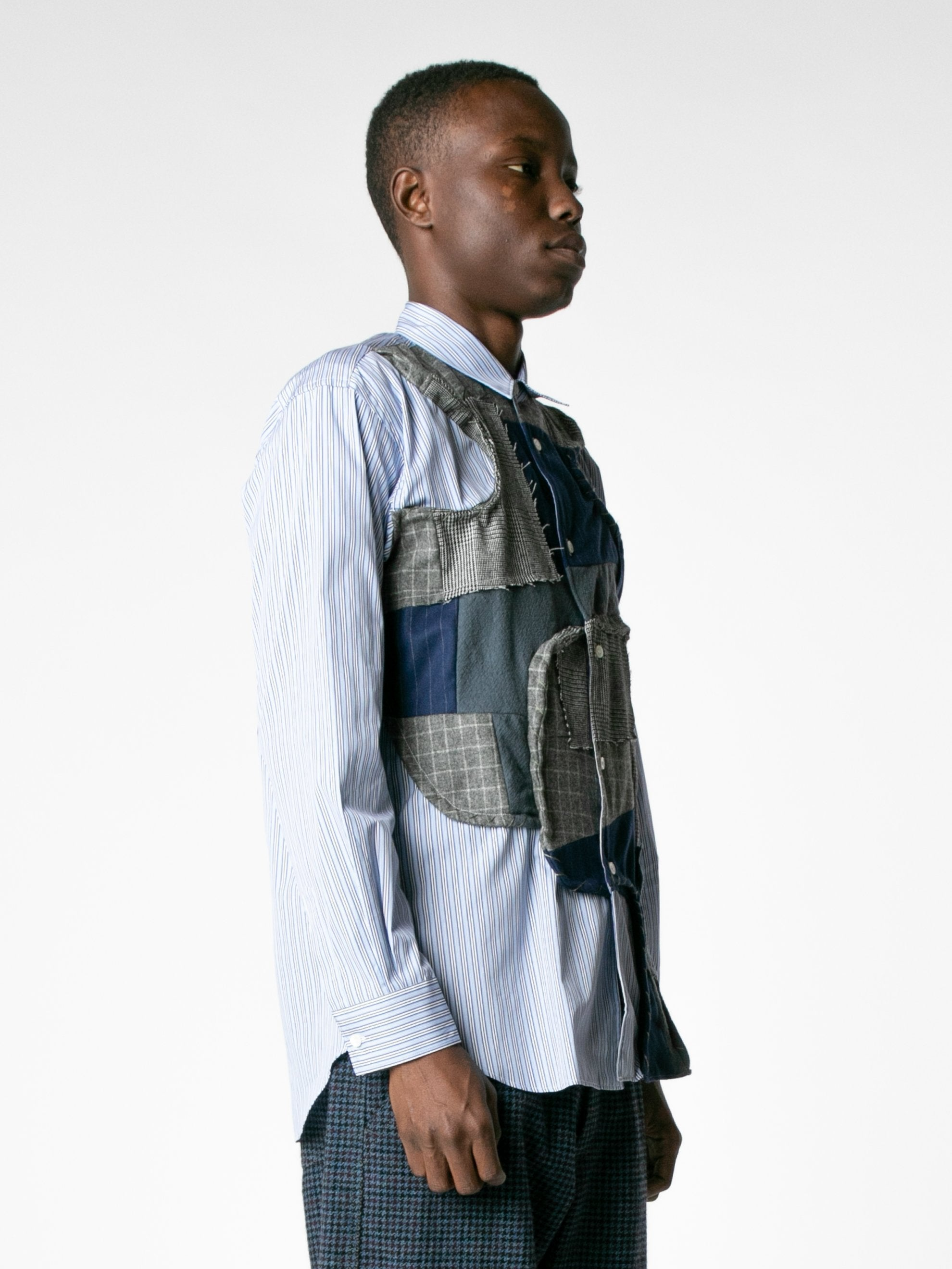 White / Mix Reconstructed Front Patch Paneled Stripe Shirt 4