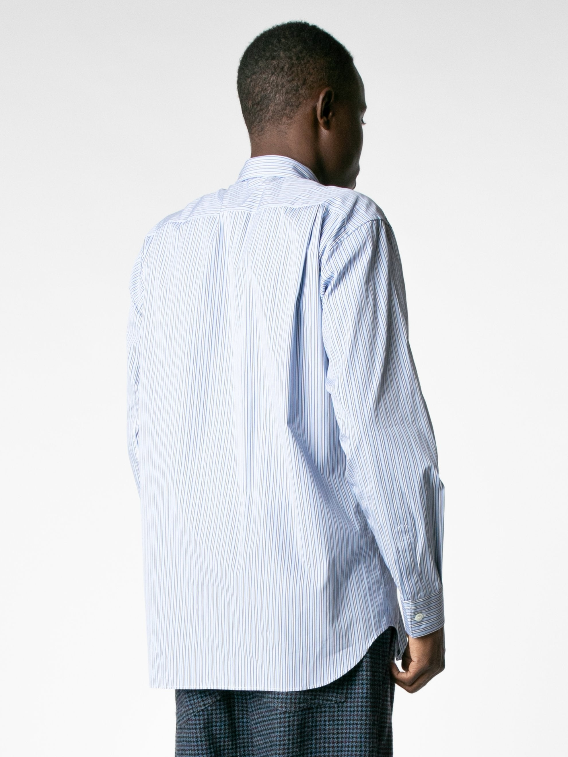 White / Mix Reconstructed Front Patch Paneled Stripe Shirt 5