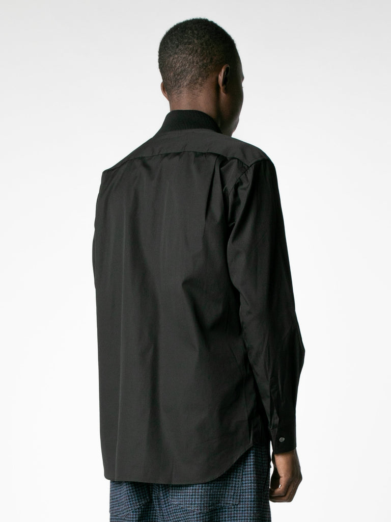 Black Layered Hybrid Blouson Shirt 513570097905741