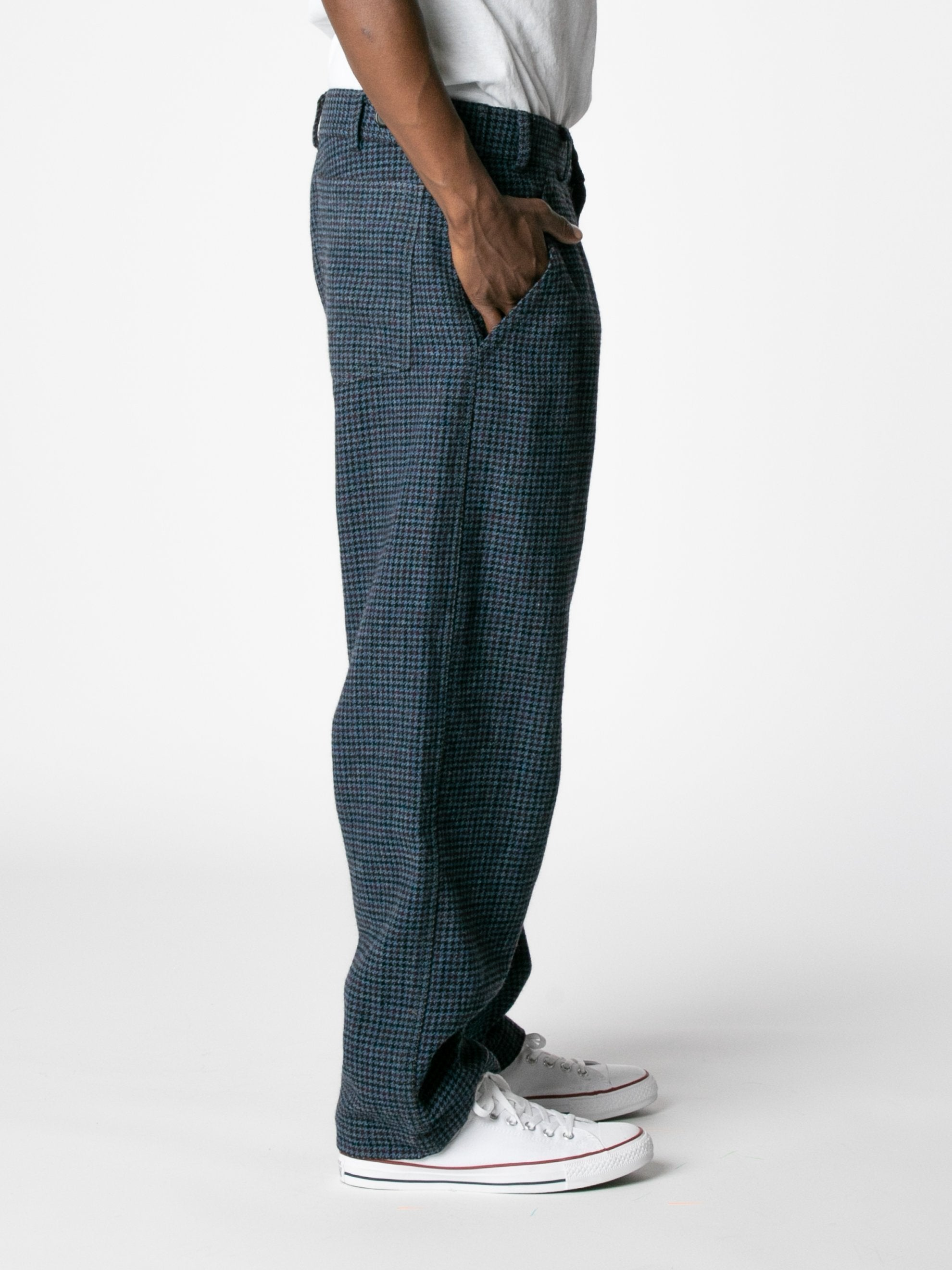 Blue Houndstooth Wool Trousers 4