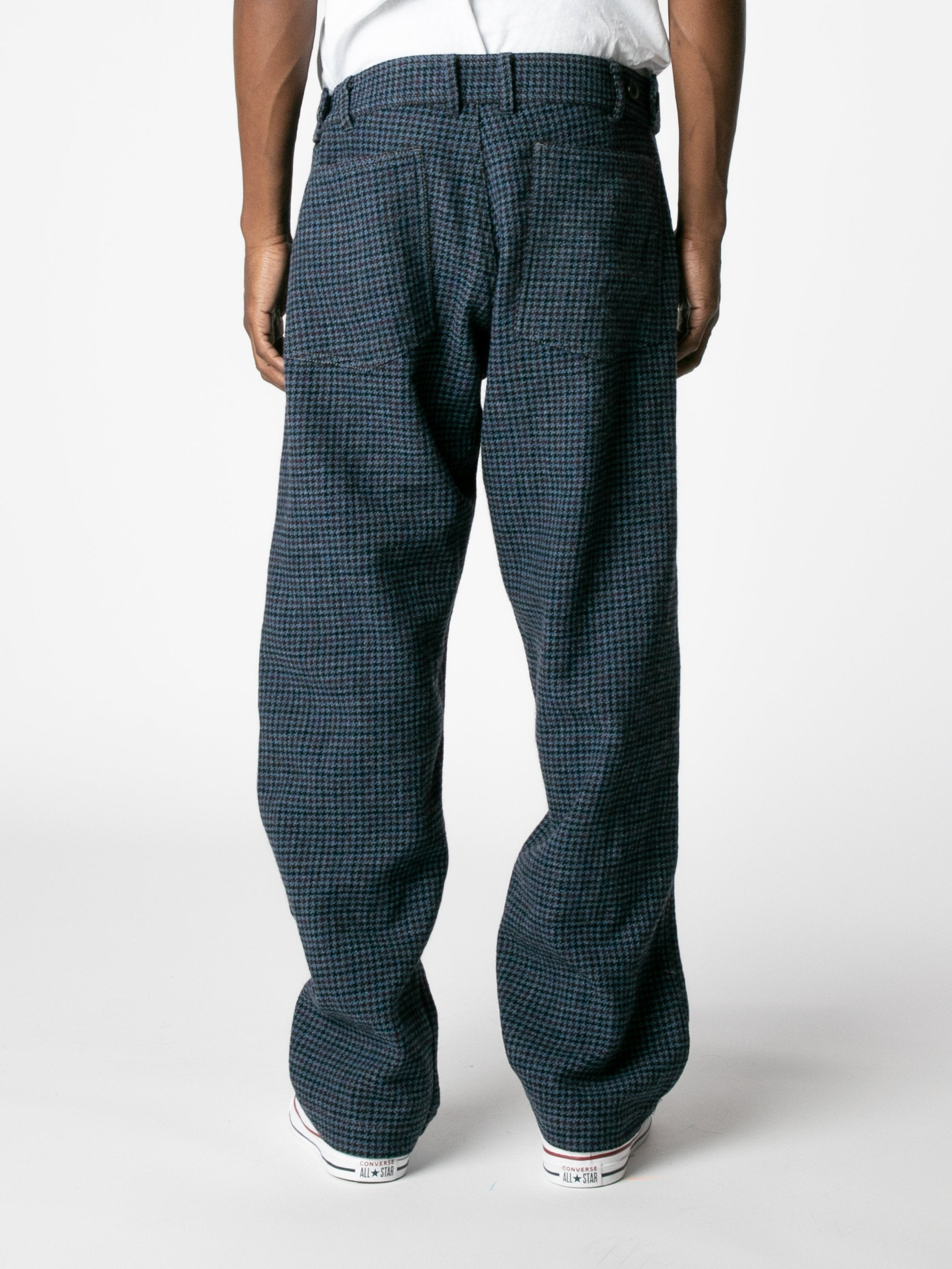 Blue Houndstooth Wool Trousers 5